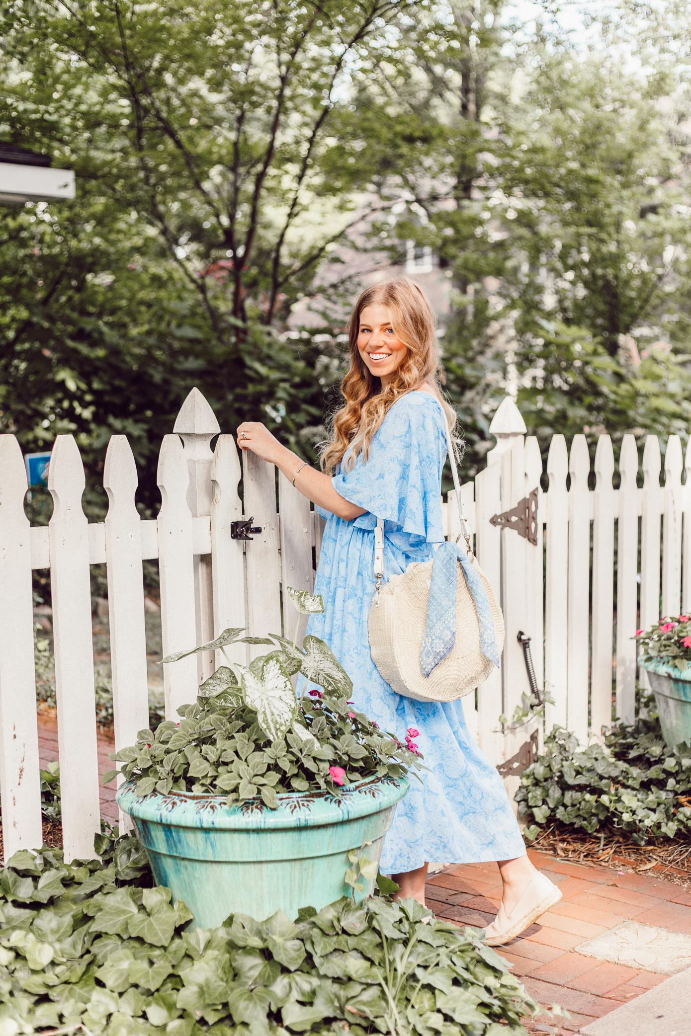 Breezy Summer Dresses   Blue Kimono Dress for Summer styled on Louella Reese