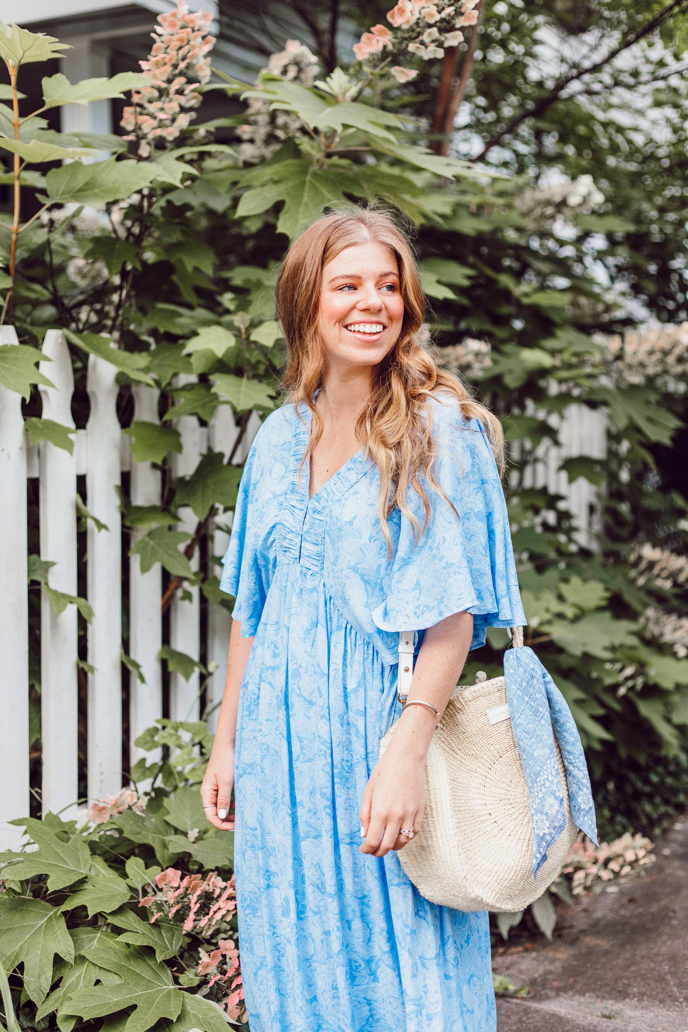 Breezy Summer Dresses 2018   Blue Kimono Dress for Summer styled on Louella Reese