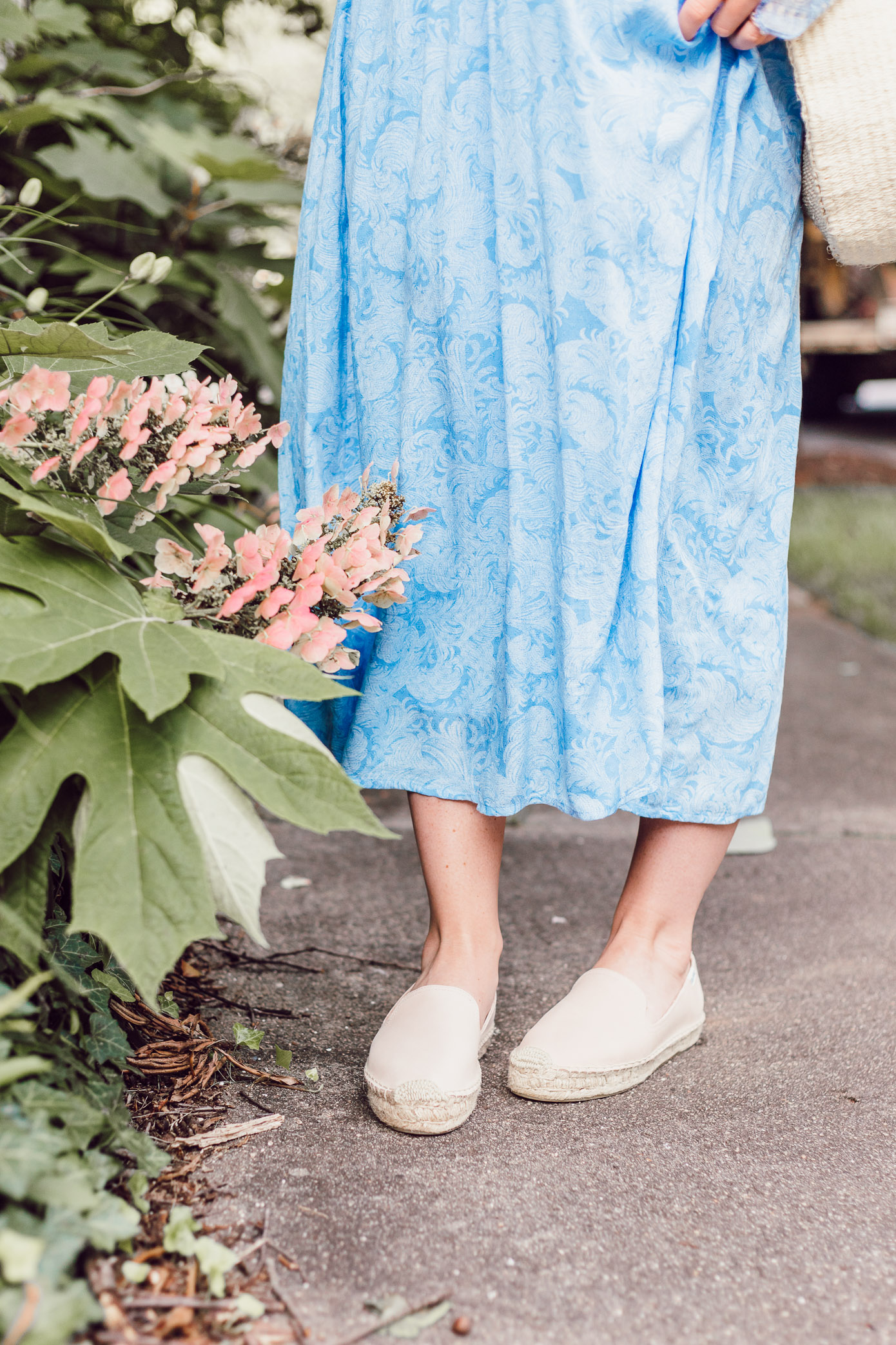 Soludos Espadrille Smoking Slippers   Blue Kimono Dress for Summer styled on Louella Reese