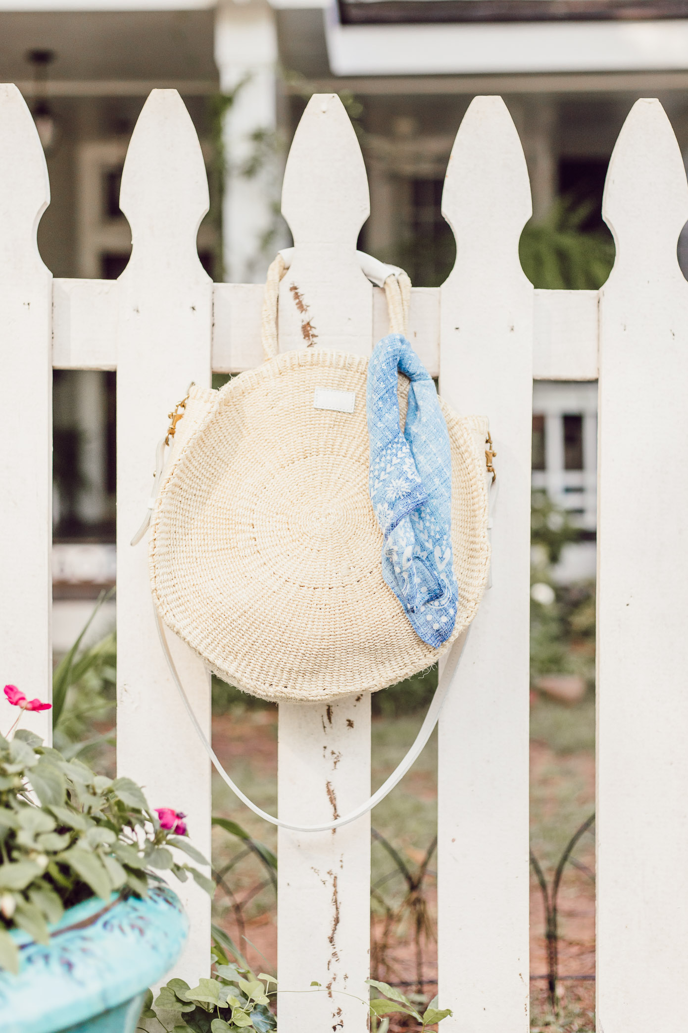 Clare V. Round Straw Tote   Blue Kimono Dress for Summer styled on Louella Reese