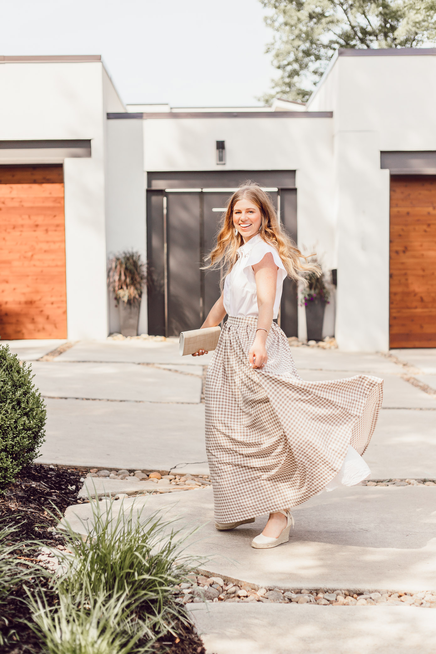 How to Style a Maxi Skirt for Summer - A Summer Gingham Maxi Skirt styled by Laura Leigh of Louella Reese #maxiskirt #gingham #southernstyle