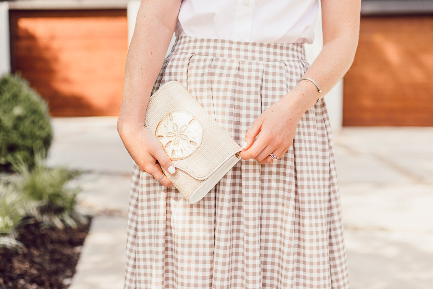 Lisi Lerch Raffia Clutch - A Summer Gingham Maxi Skirt styled by Laura Leigh of Louella Reese #maxiskirt #gingham #southernstyle