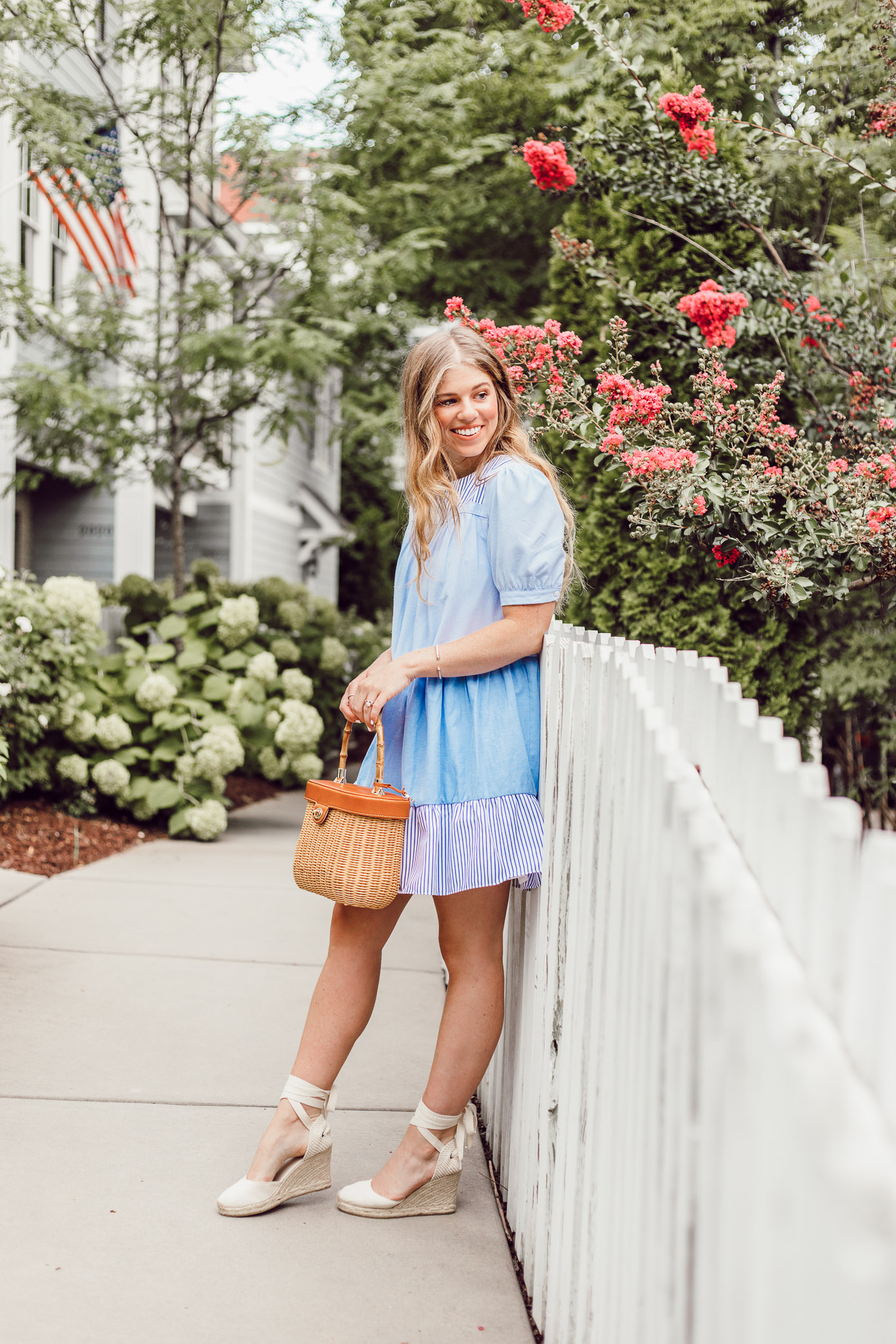 How to style a blue and white striped dress for an easy summer look, English Factory Summer Dress // Louella Reese