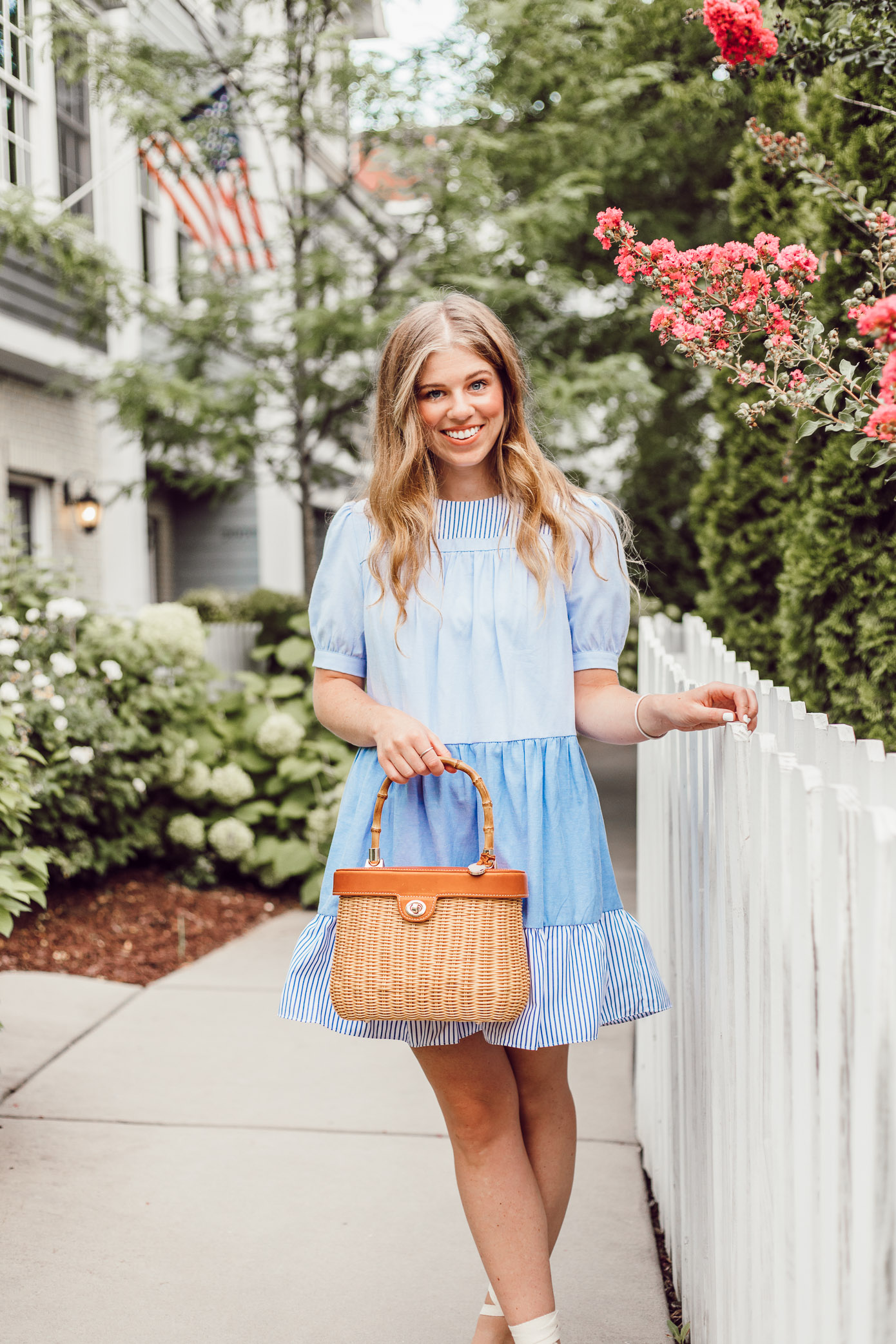 English Factory Summer Dress in Charlotte, NC // Blue and White Dress for Summer, Structured Basket Bag   Louella Reese