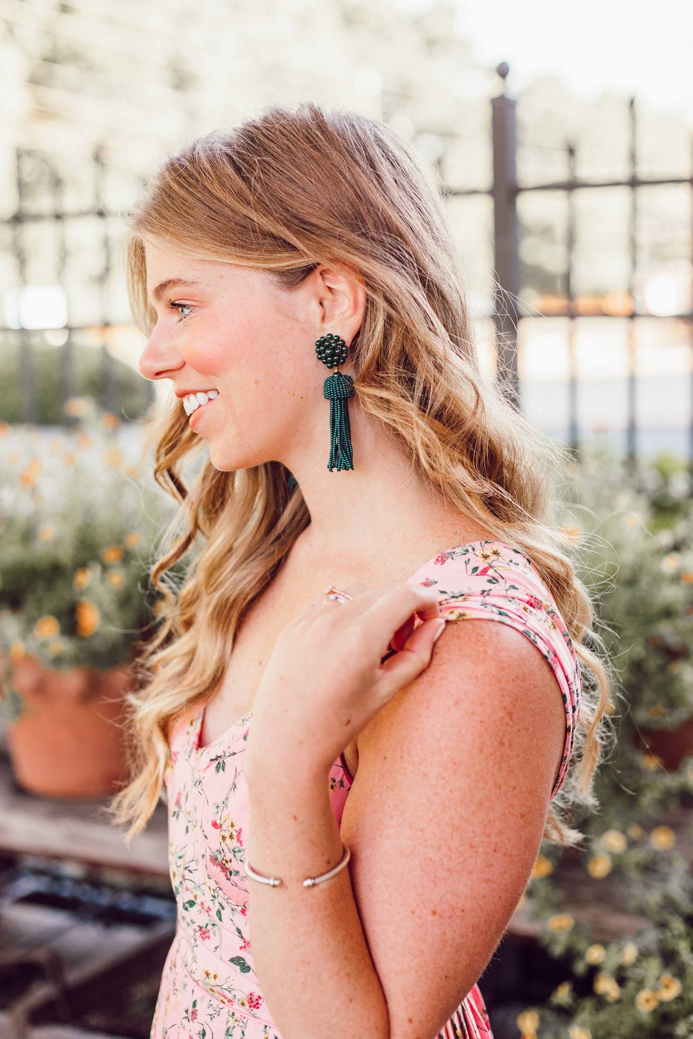 Green Tassel Earrings + Pink Floral Sundress for Every Occasion styled on Louella Reese Life & Style Blog