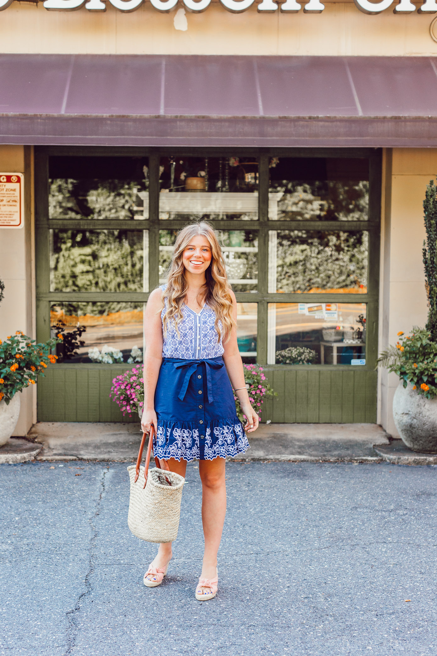 Summer Blues: Favorite Blue and White Pieces for Summer | Navy Embroidered Skirt and Geometric Tank styled on Louella Reese Blog