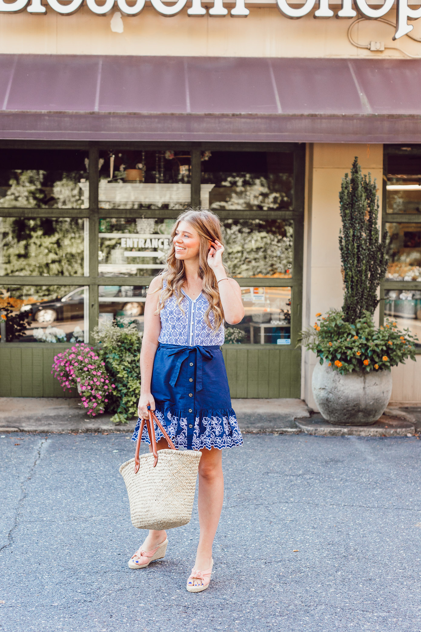 Summer Blues: Favorite Blue and White Pieces for Summer | Navy Embroidered Skirt styled on Louella Reese