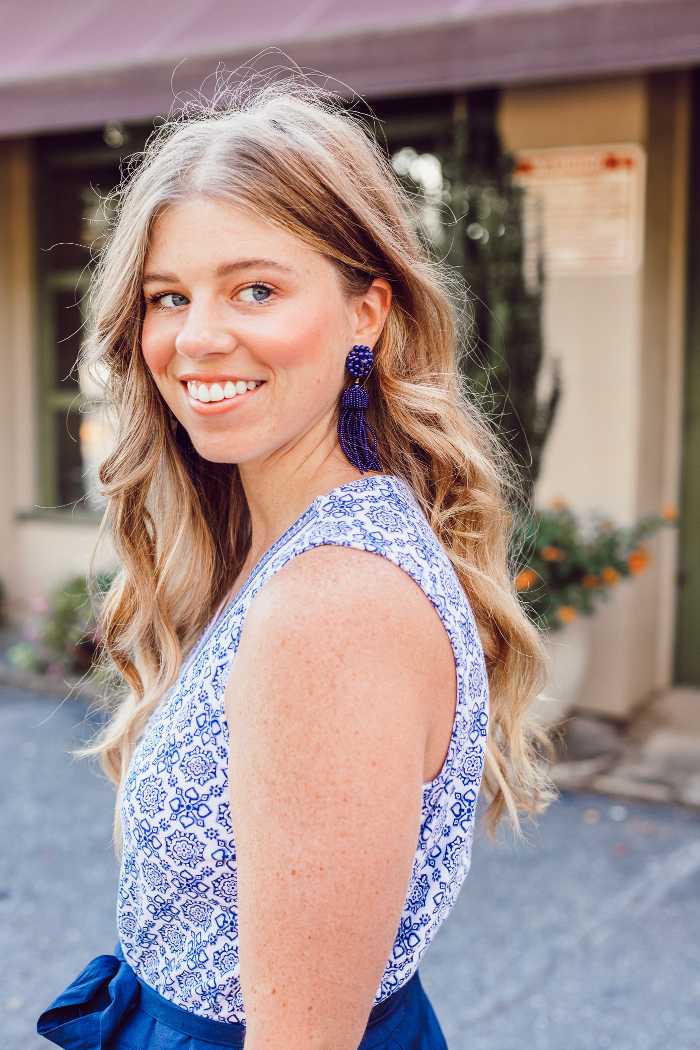 Summer Blues: Favorite Blue and White Pieces for Summer | Navy Tassel Earrings styled on Louella Reese
