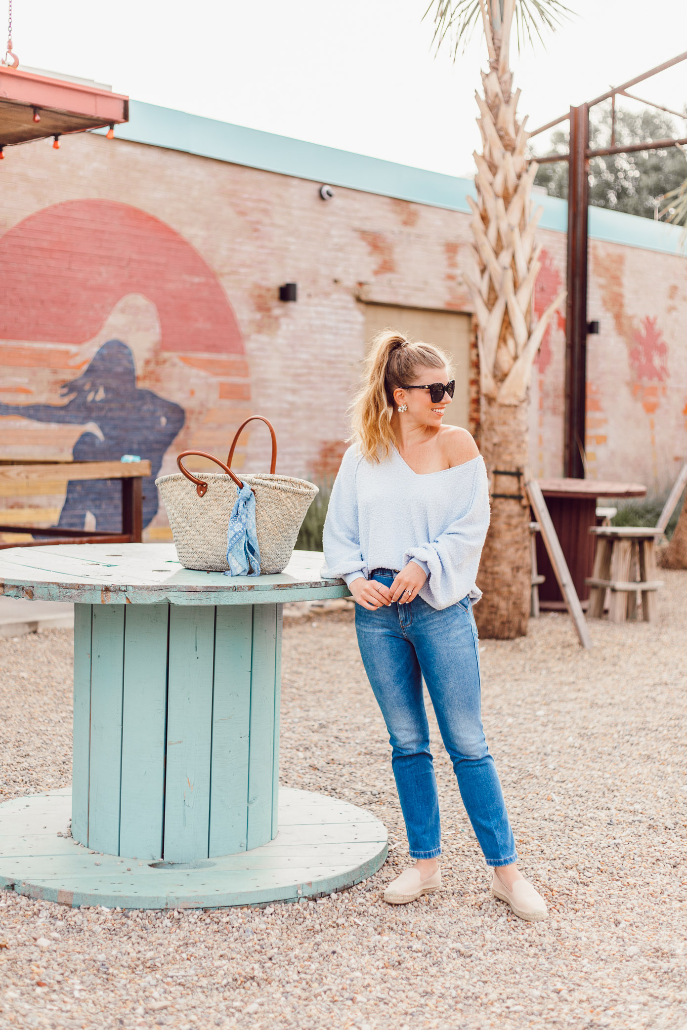 Summer Everyday Casual | Free People Found My Friend Sweater, FRAME Le Slender Straight Leg Jeans styled on Louella Reese