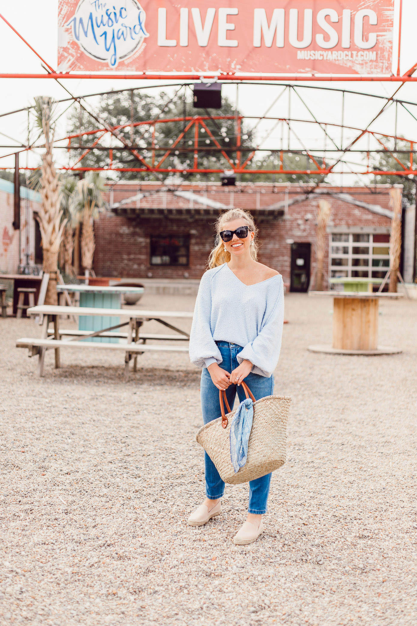 Summer Everyday Casual | Free People Found My Friend Sweater, FRAME Le Slender Straight Leg Jeans styled on Louella Reese Life & Style Blog