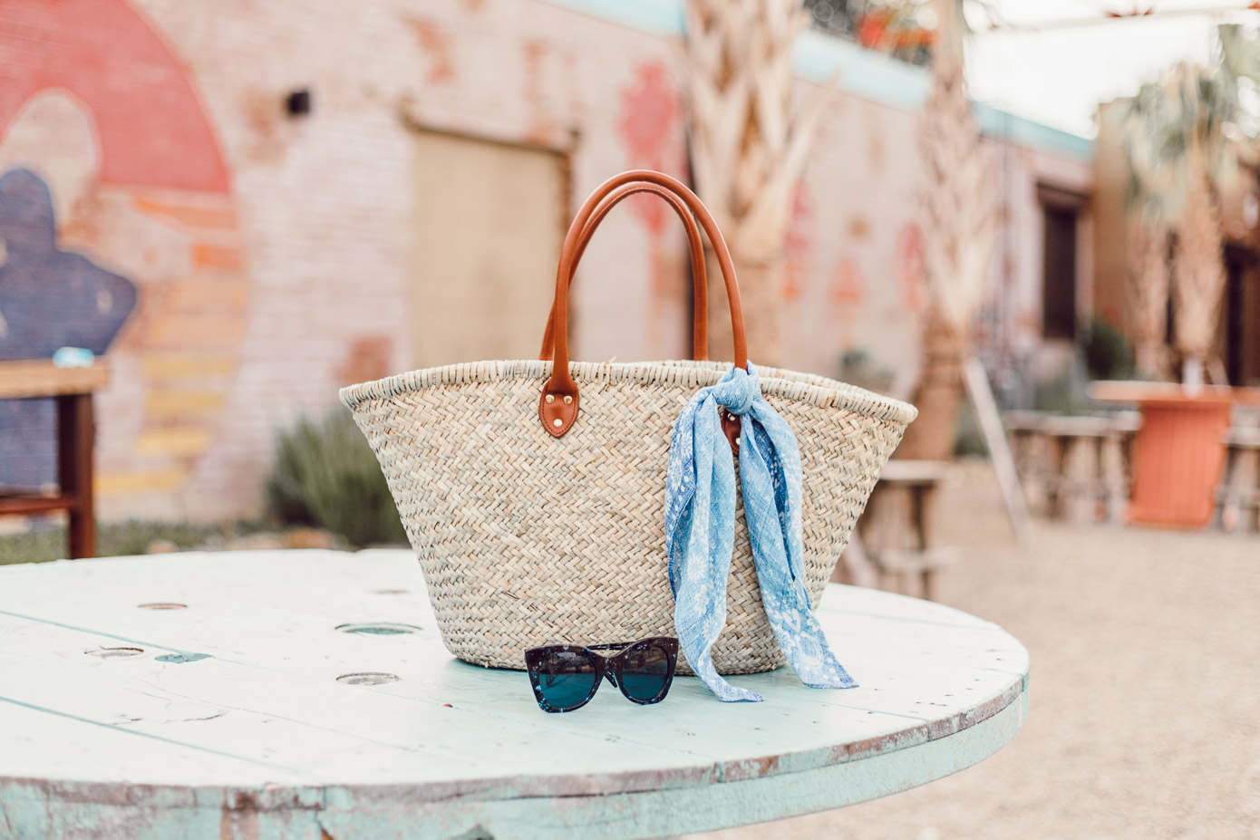 Summer Everyday Casual | Natural Straw Tote and Blue Bandana styled on Louella Reese
