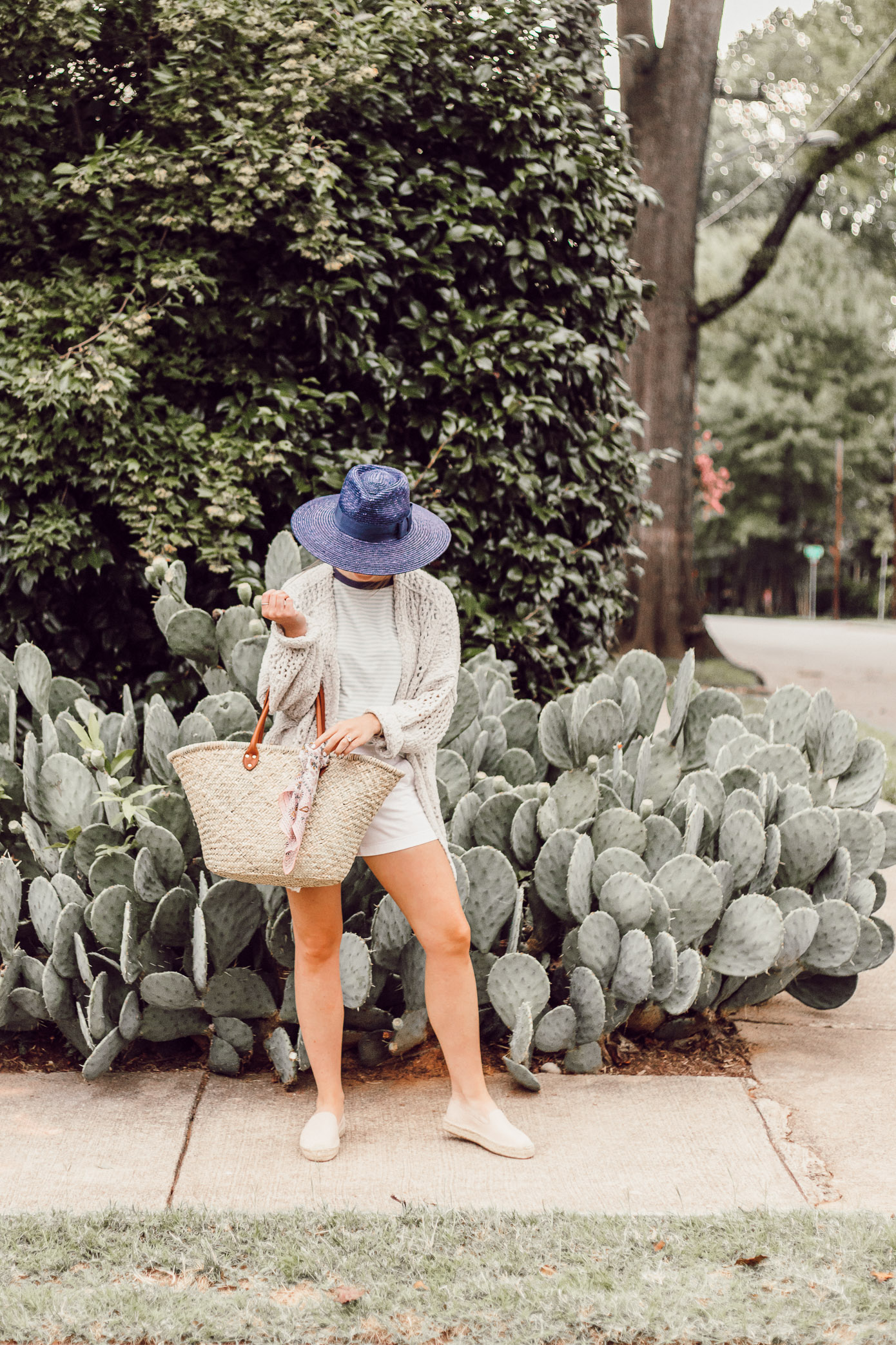 Navy Straw Hat, Free People Saturday Morning Cardigan, Green and White Striped Tee | Casual Late Summer Outfit Idea featured on Louella Reese Blog