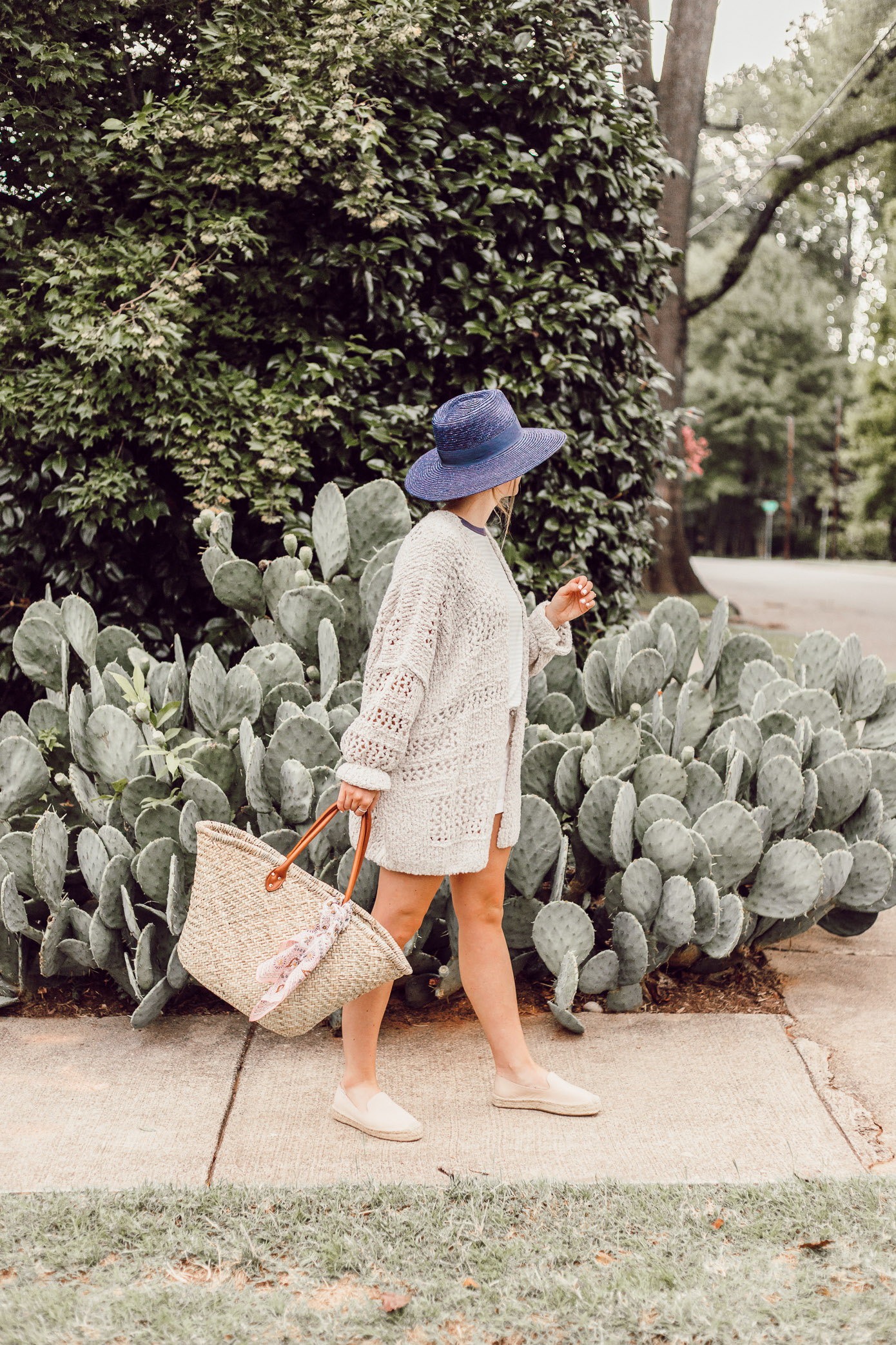 Navy Straw Hat, Free People Saturday Morning Cardigan | Casual Late Summer Outfit Idea featured on Louella Reese Life & Style Blog