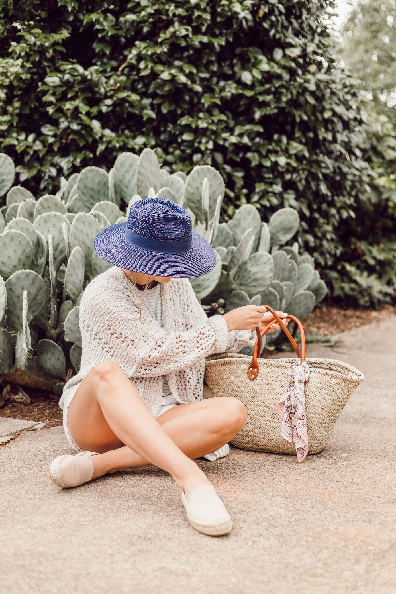 Navy Straw Hat, Free People Saturday Morning Cardigan | Casual Late Summer Outfit Idea featured on Louella Reese