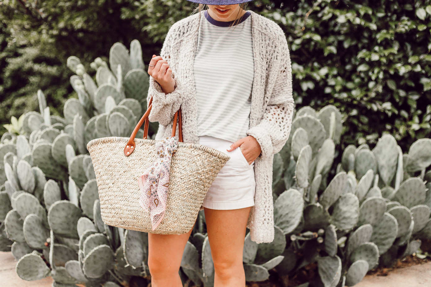 Navy Straw Hat, Free People Saturday Morning Cardigan, Preppy Striped Tee | Casual Late Summer Outfit Idea featured on Louella Reese