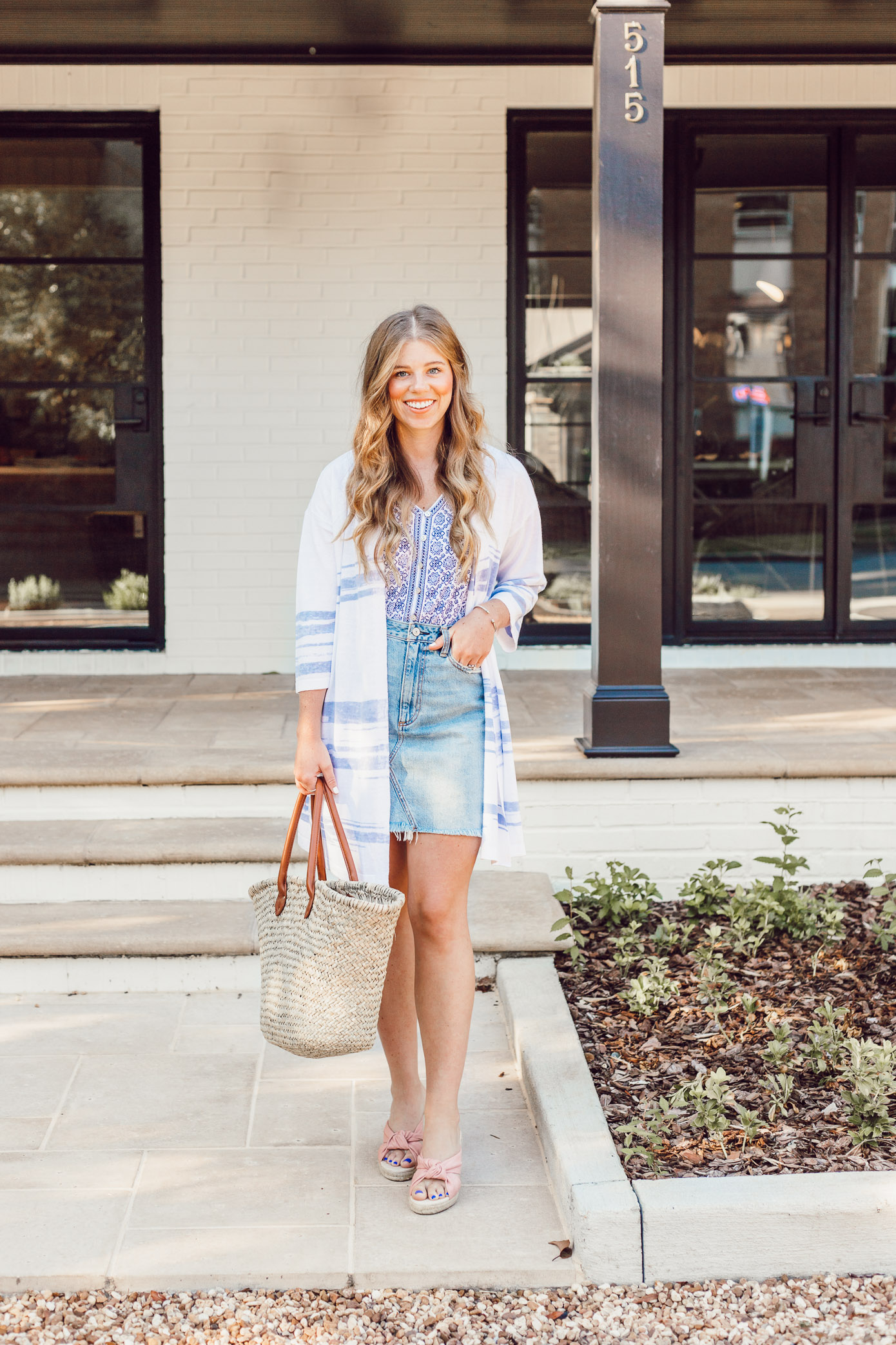 How to Style a Sweater Lightweight Kimono for Summer styled on Louella Reese | Casual Summer Style, Light Wash Denim Skirt