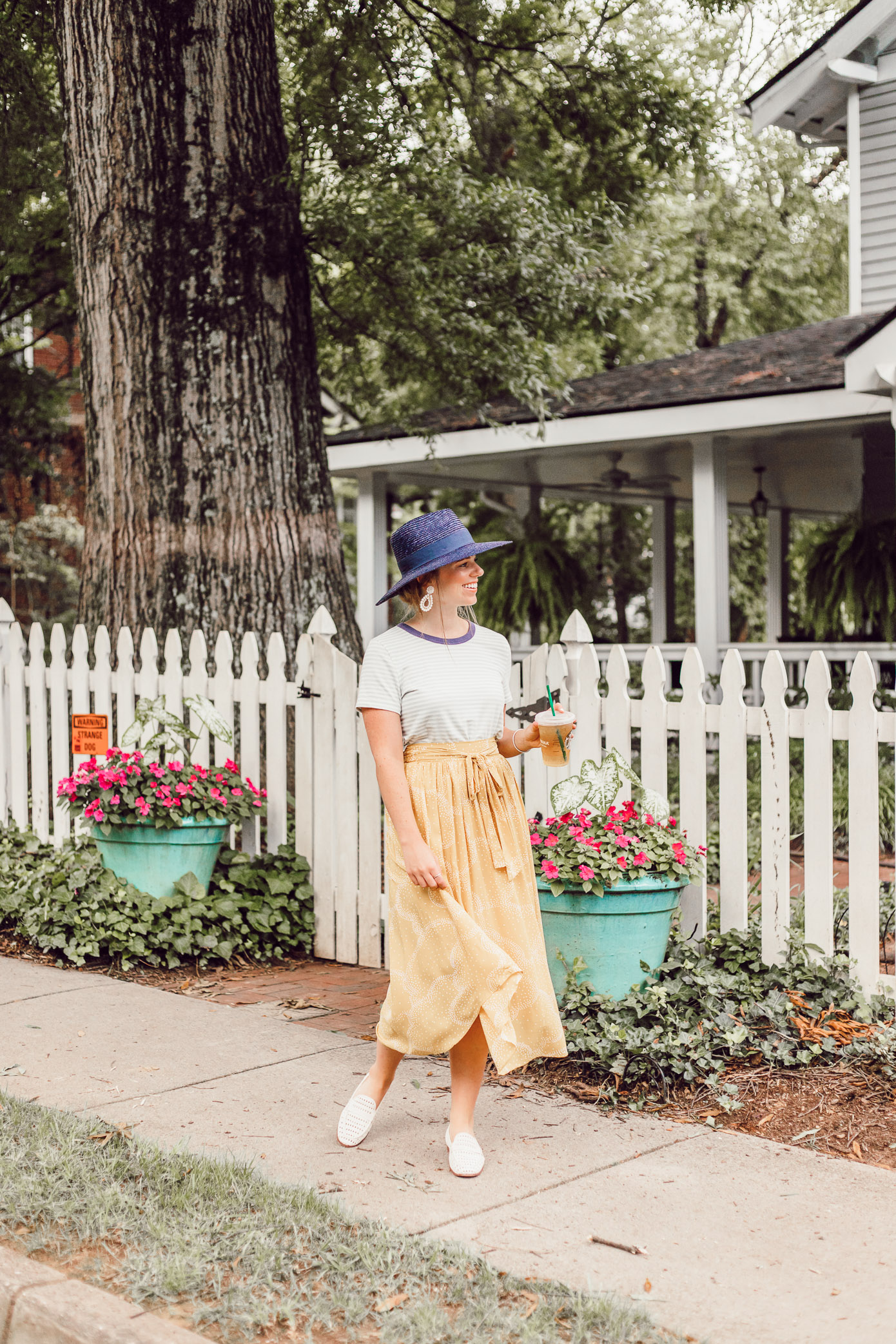 Preppy Casual Summer Style, Yellow Midi Skirt for Late Summer, Early Fall | What to Cross Off Your Late Summer Bucket List featured on Louella Reese Blog