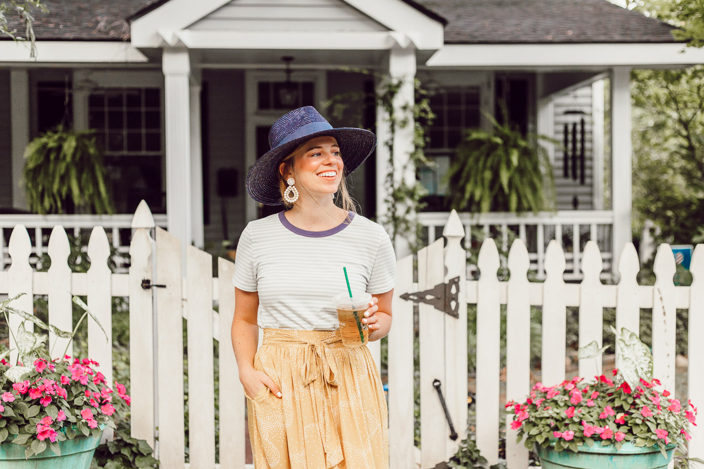 Preppy Casual Summer Style, Yellow Midi Skirt for Late Summer, Early Fall | What to Cross Off Your Late Summer Bucket List featured on Louella Reese Life & Style Blog
