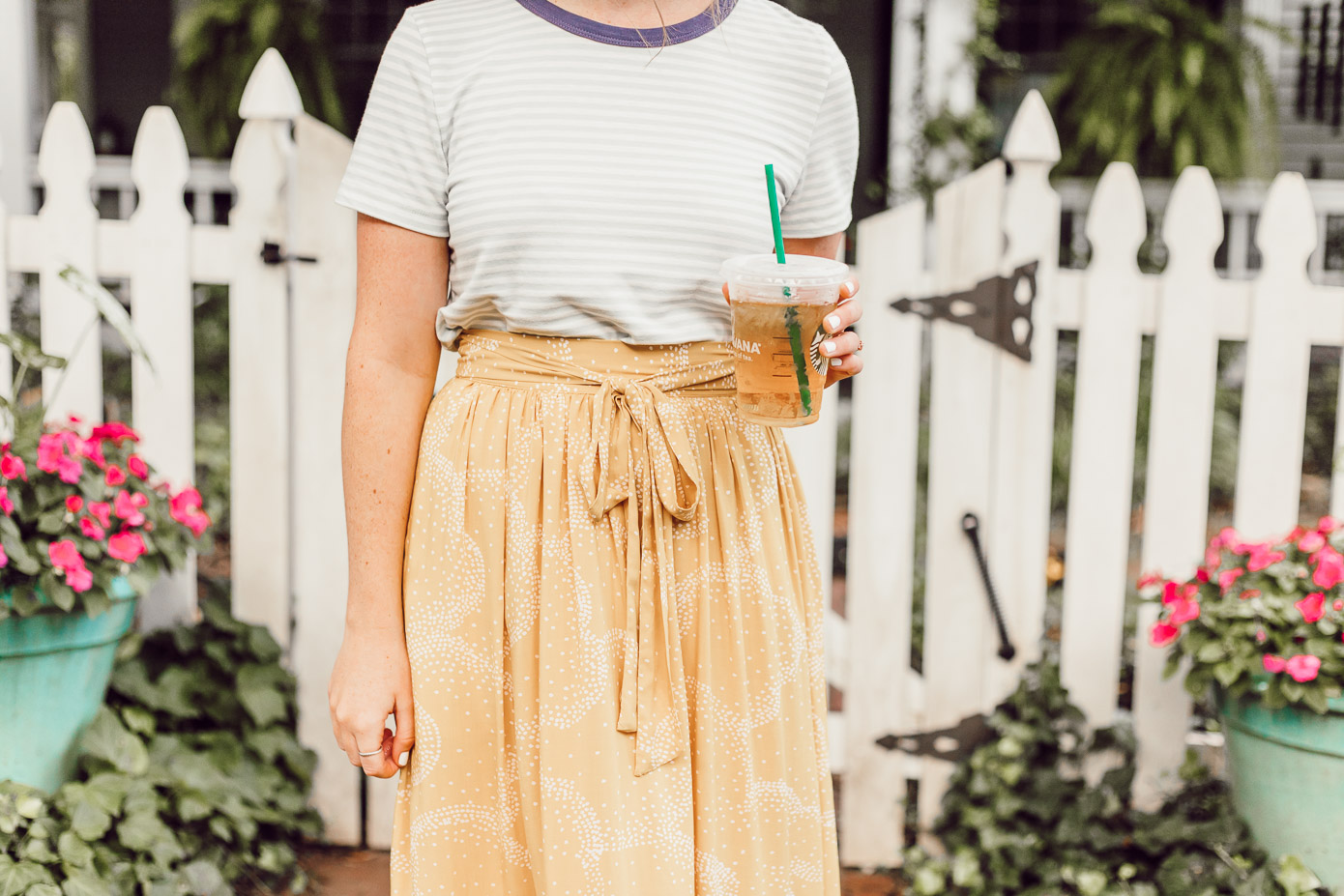 Preppy Striped Tee, Yellow Midi Skirt for Late Summer, Early Fall | Late Summer Bucket List featured on Louella Reese