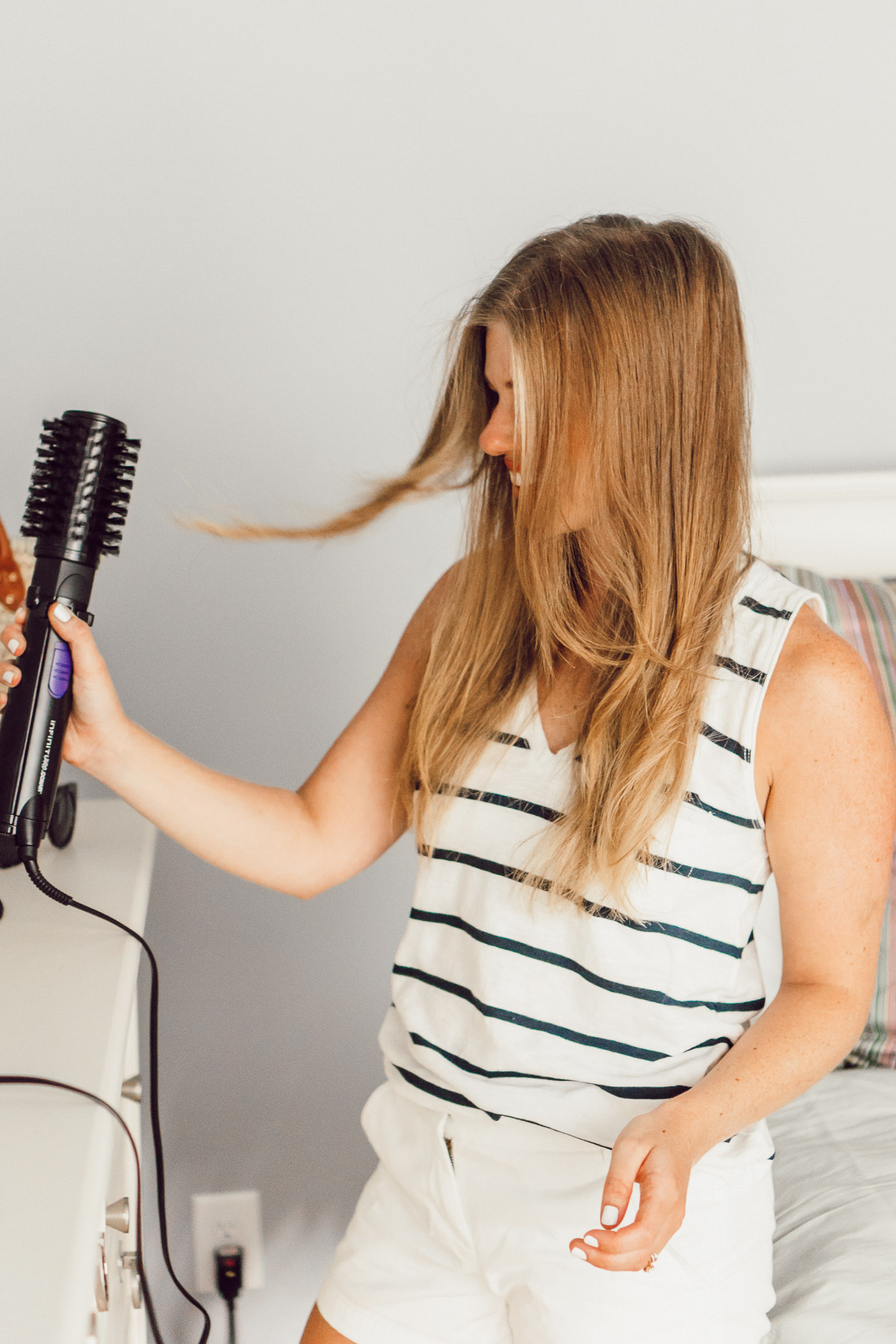 Two Summer Hairstyles with Conair   InfinitiPRO Spin Air Brush and InfinitiPRO Curl Secret 2.0   Easy Summer Hairstyles featured on Louella Reese