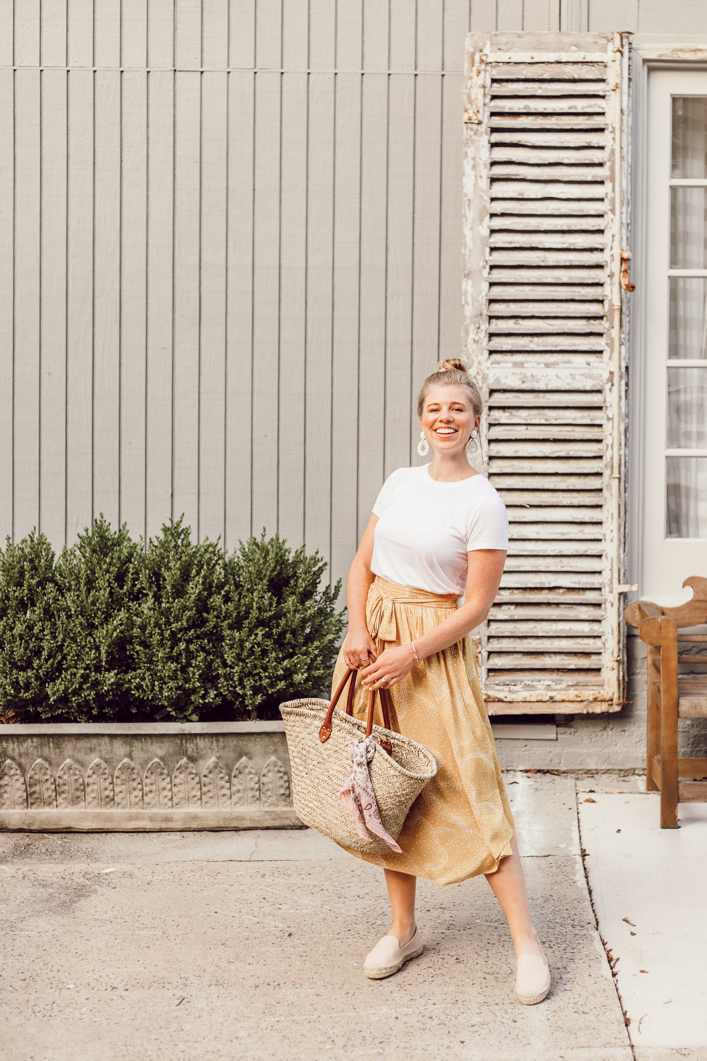Step Out of Your Color Comfort Zone | Basic White Tee and Yellow Midi Skirt styled on Louella Reese