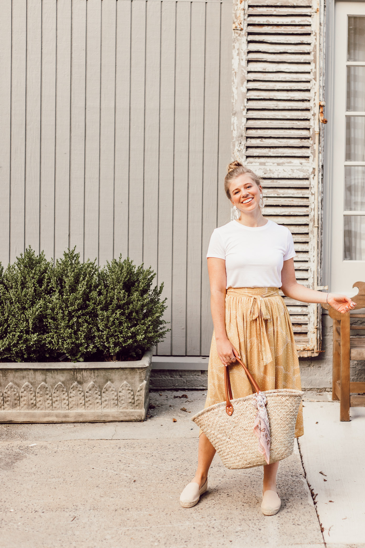 Step Out of Your Color Comfort Zone | Basic White Tee and Yellow Midi Skirt featured on Louella Reese Blog