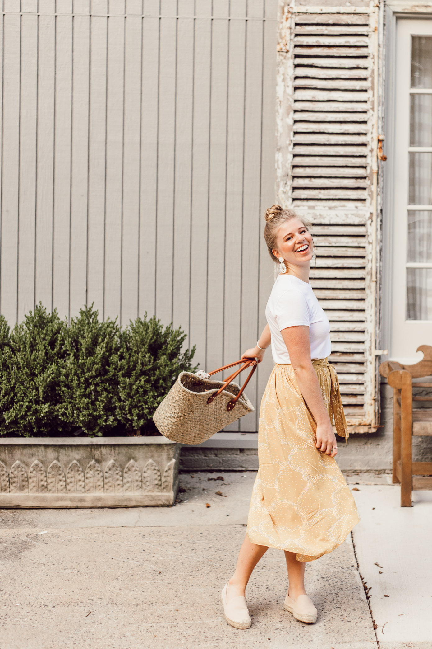 Step Out of Your Color Comfort Zone   Basic White Tee and Yellow Midi Skirt styled on Louella Reese Life & Style Blog