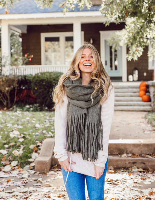 The BEST Oversized Scarves to Shop Now featured on Louella Reese | Olive Green Scarf