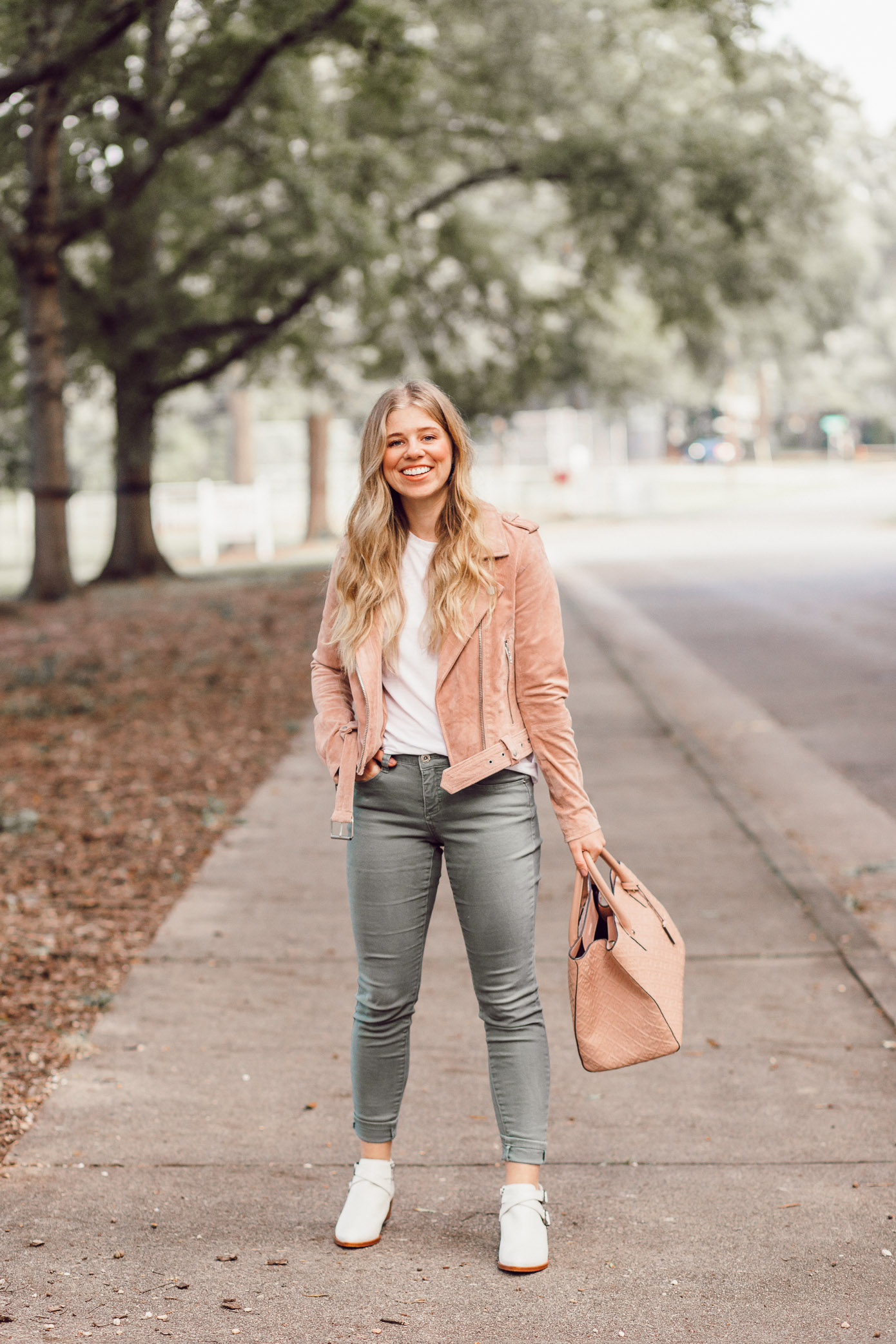 BlankNYC Blush Suede Moto Jacket | 2018 Fall Jackets featured on Louella Reese