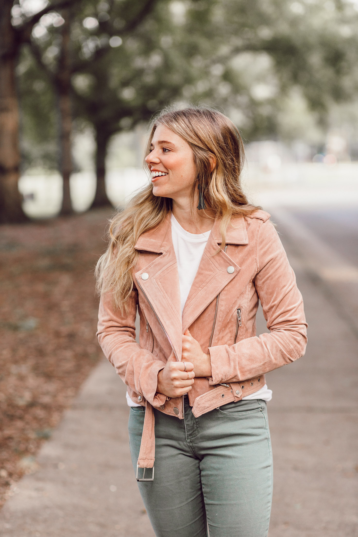 BlankNYC Blush Suede Moto Jacket | 2018 Fall Jackets featured on Louella Reese Blog