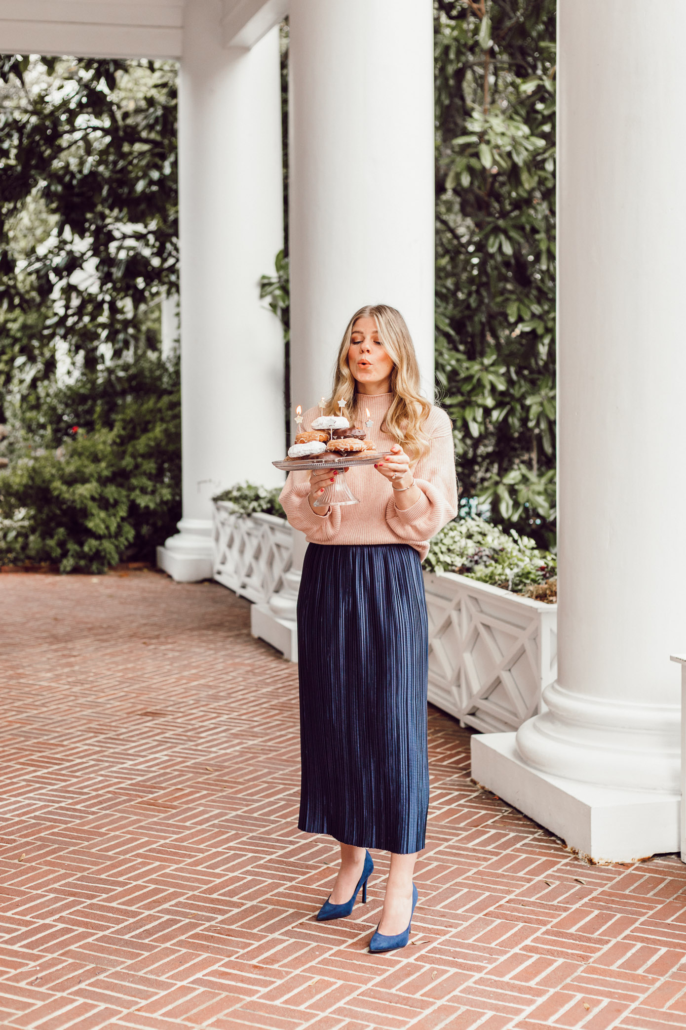 29 Life Lessons Learned featured on Louella Reese for her 29th Birthday | Tibi Plissé Midi Skirt, Line + Dot Blush Cropped Sweater