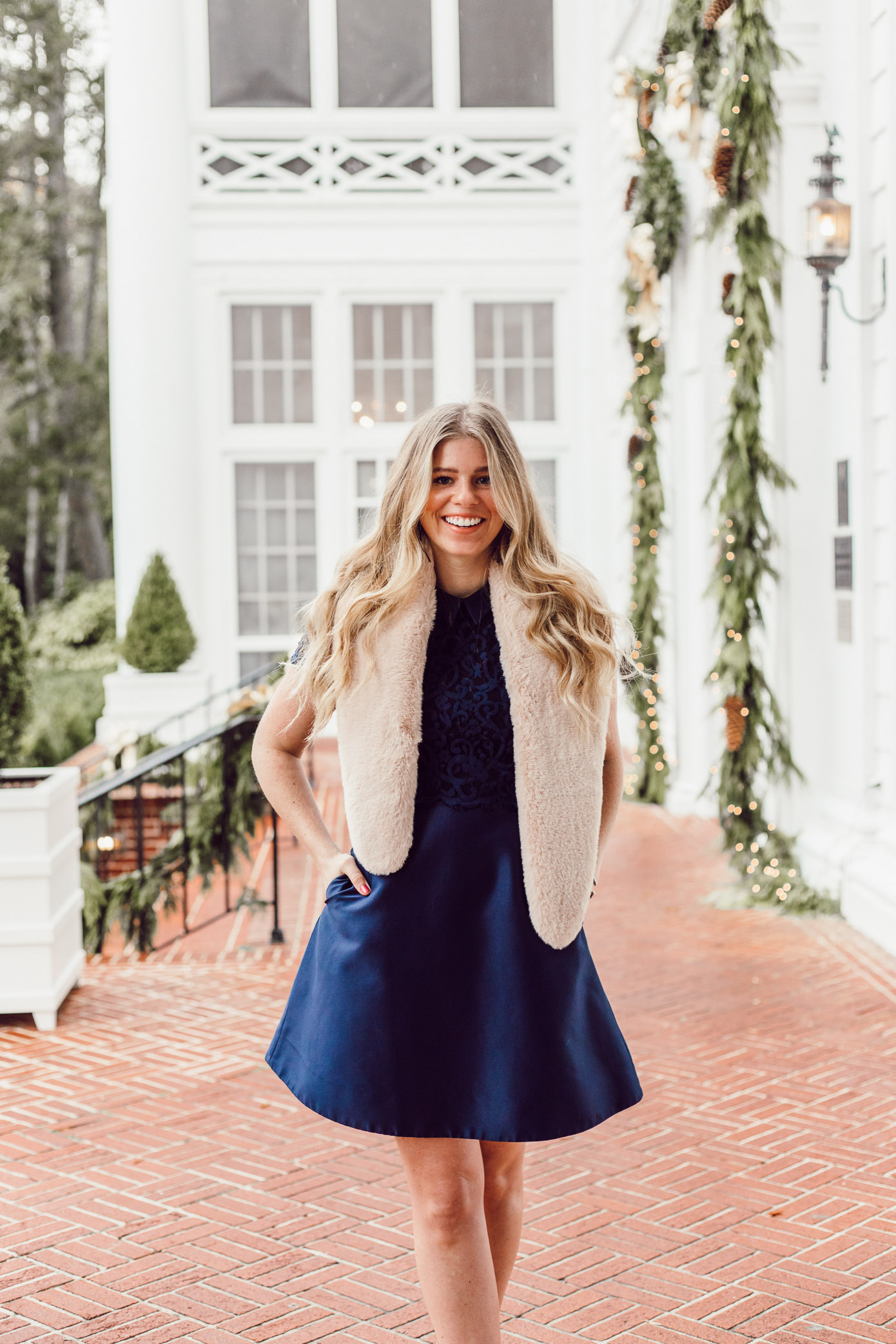 Finding the Perfect Holiday Party Dress with Rent the Runway on Louella Reese Life & Style Blog   Navy Lace Mini Dress, Christmas Party Dress, Faux Fur Stole