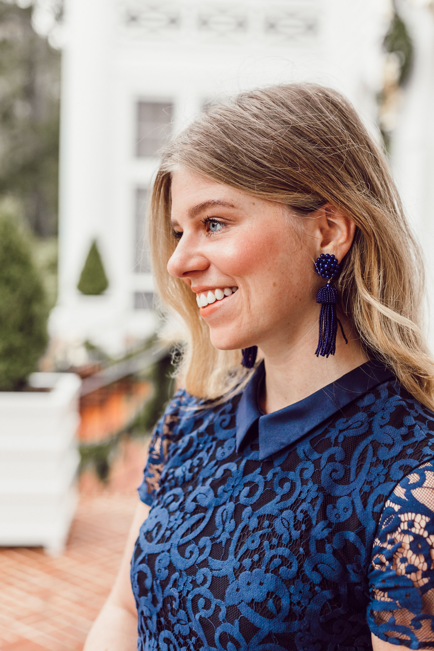 Finding the Perfect Holiday Party Dress with Rent the Runway on Louella Reese | Navy Lace Mini Dress, Navy Tassel Earrings