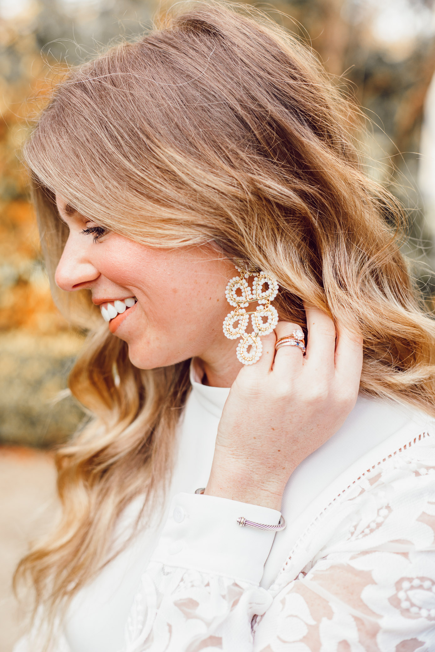 Lisi Lerch Ginger Statement Earrings   White and Gold Statement Earrings   Bridal Style featured on Louella Reese
