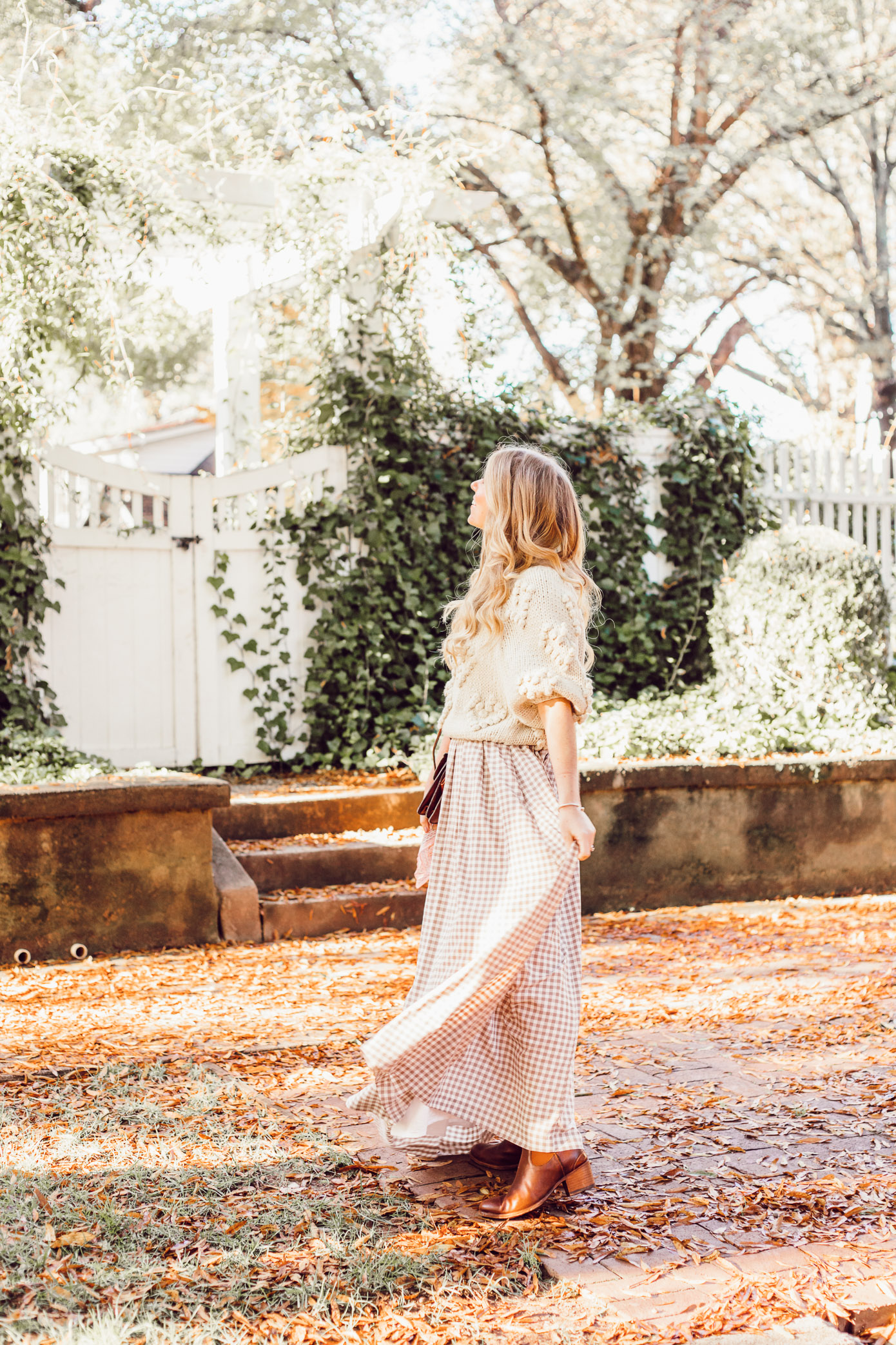 Spice Up Your Winter Date Night Look with a Winter Maxi Skirt featured on Louella Reese Life & Style Blog | Gingham Maxi Skirt