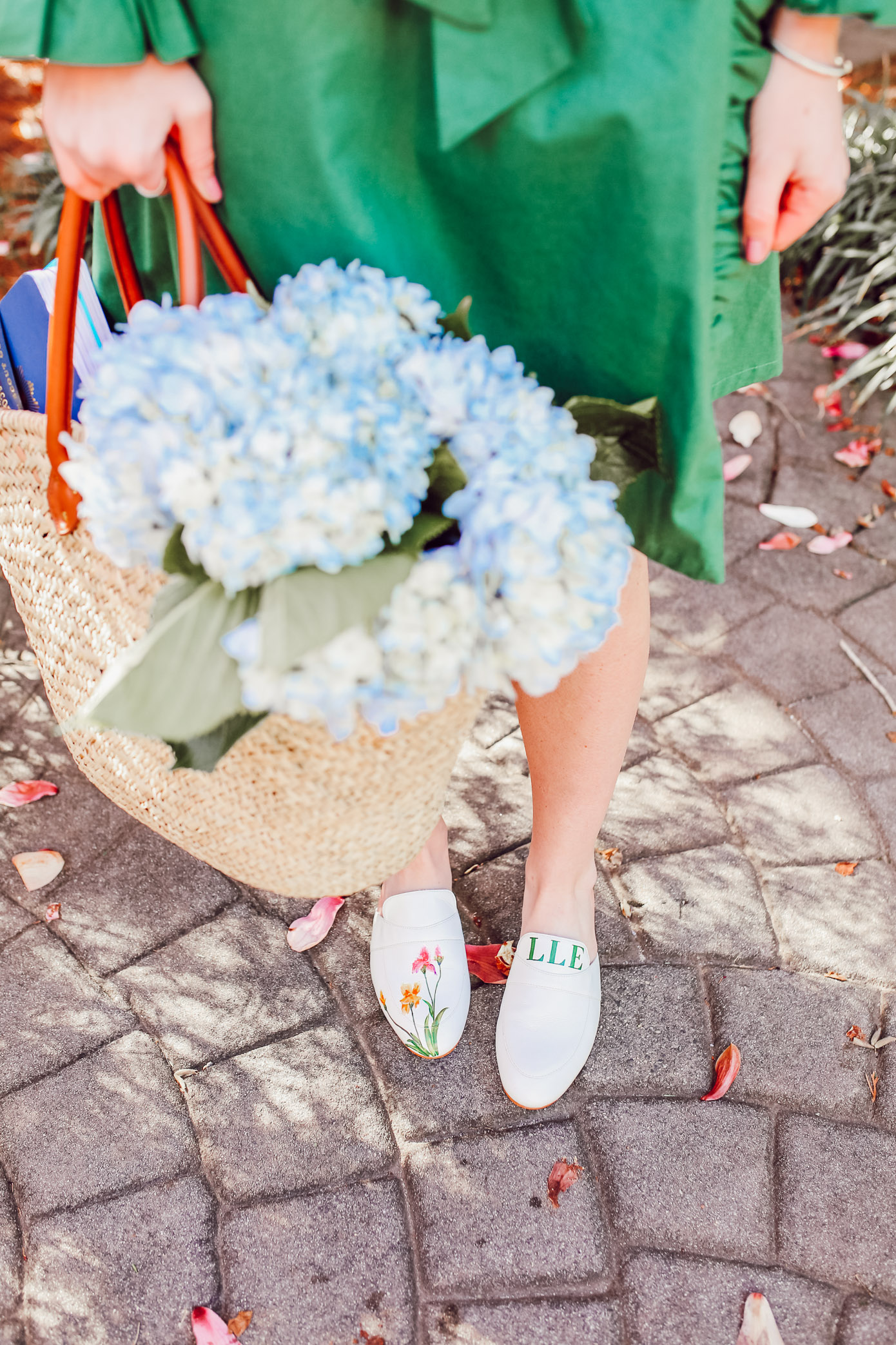 Hand-painted White Mules for Spring | Spring Footwear on Louella Reese