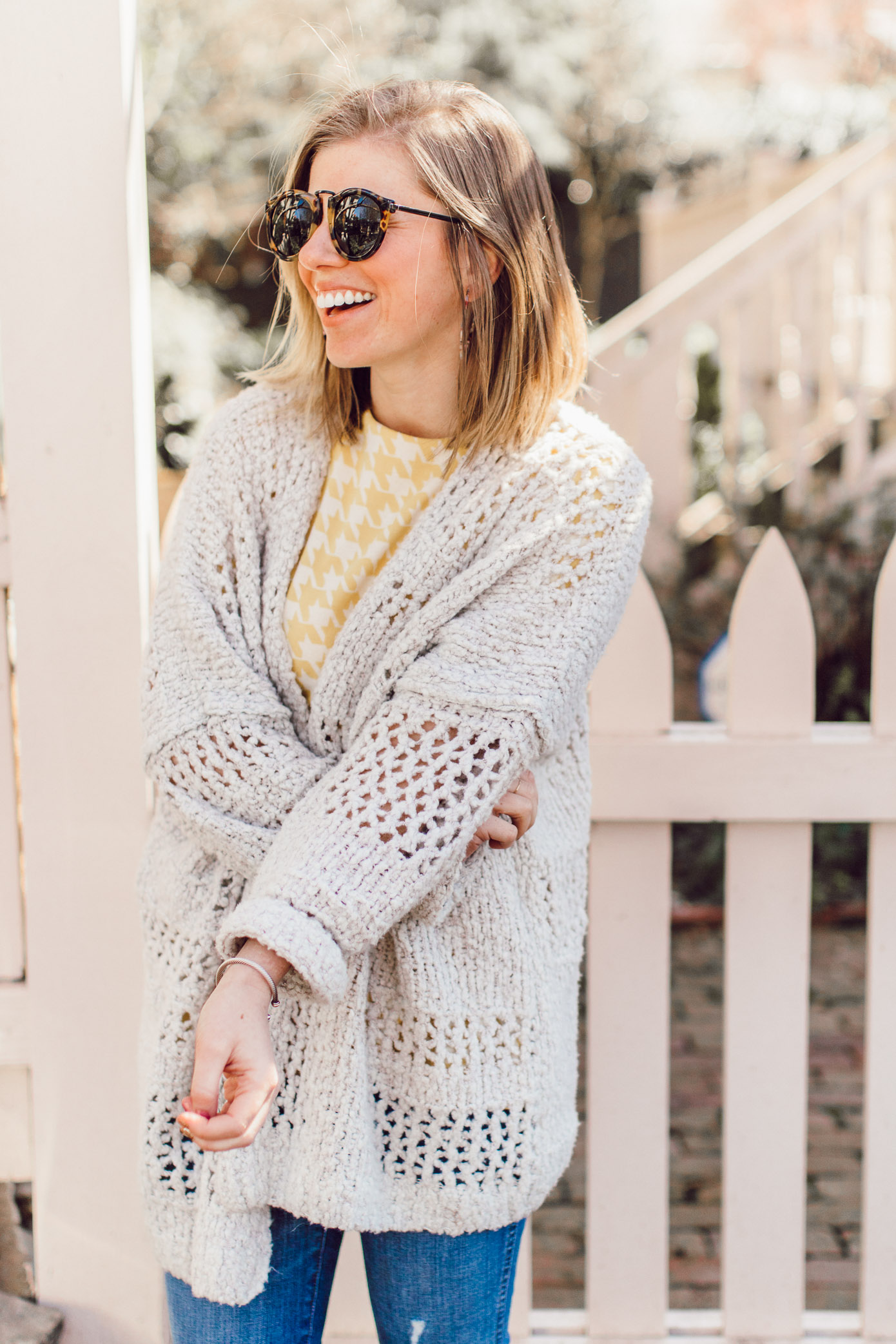 Spring 2019 Trend: Yellow | Yellow Jacquard Top, Crochet Sweater, High-rise Skinny Jeans, Karen Walker Harvest Sunglasses styled on Louella Reese