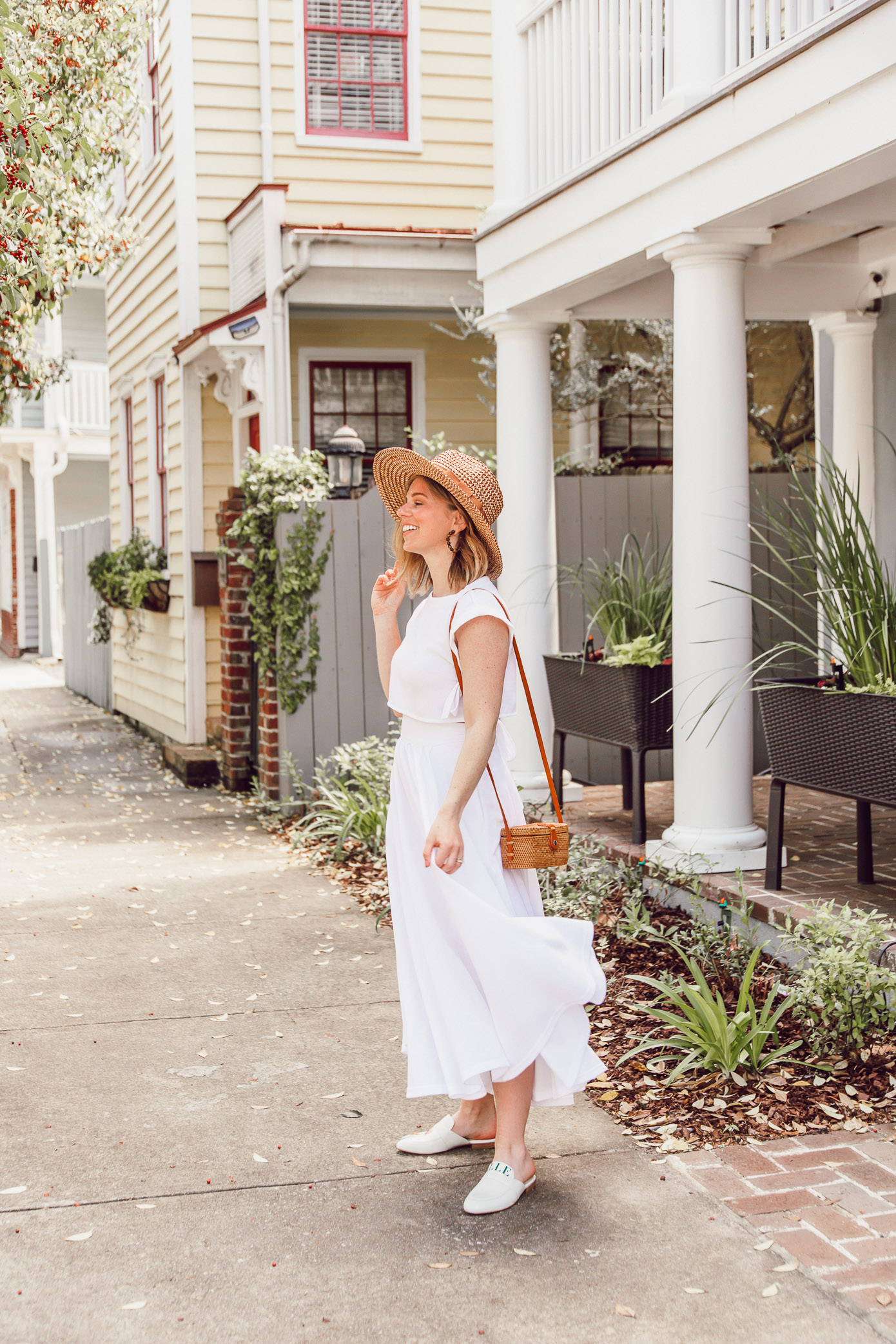White Coordinating Set for Summer | What to Wear in Charleston when it's HOT | ft. Callahan, Brixton, Alepel | Louella Reese