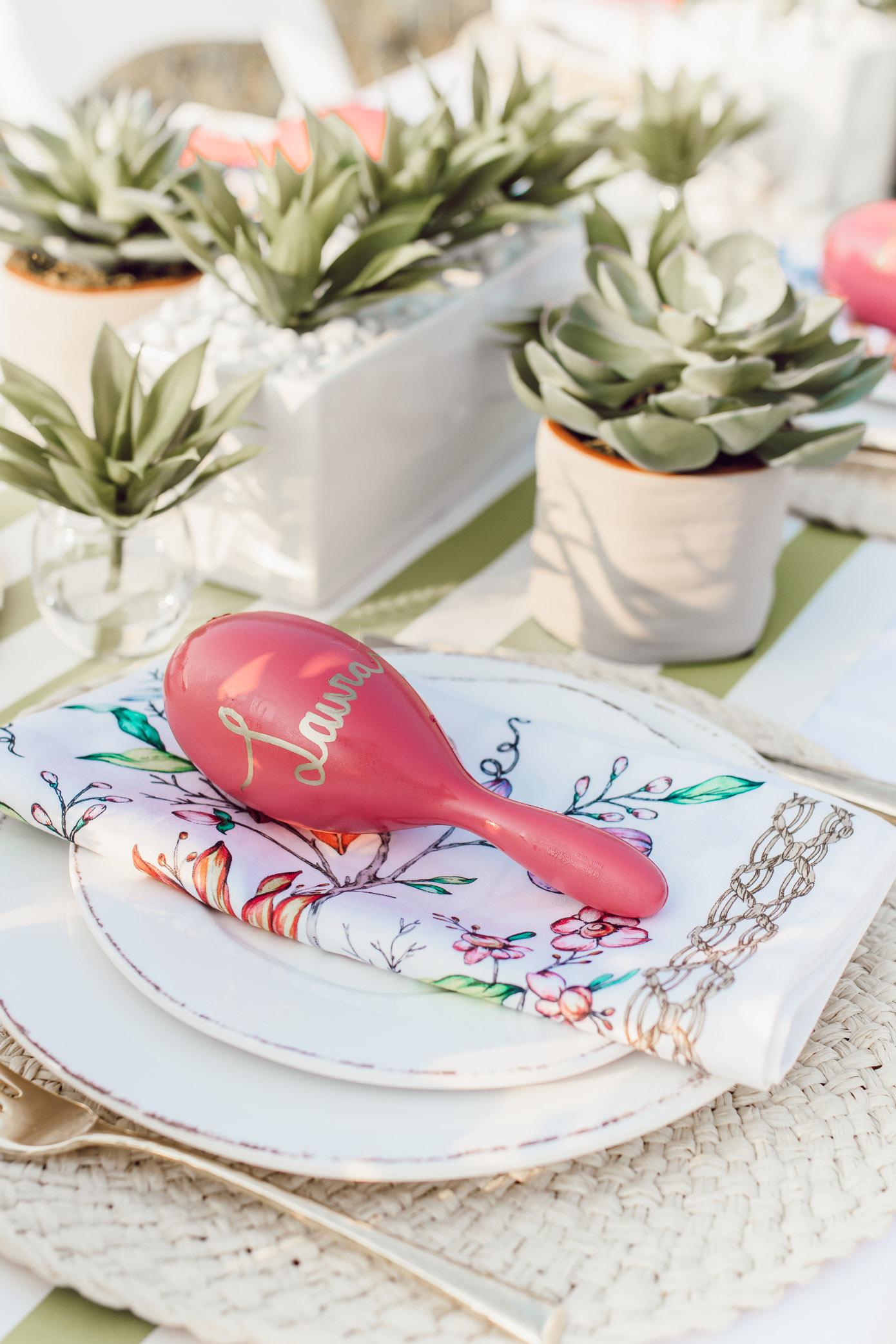 Decor for Backyard Summer Fiesta | Pink Maraca, Fiesta Tablescape | Louella Reese