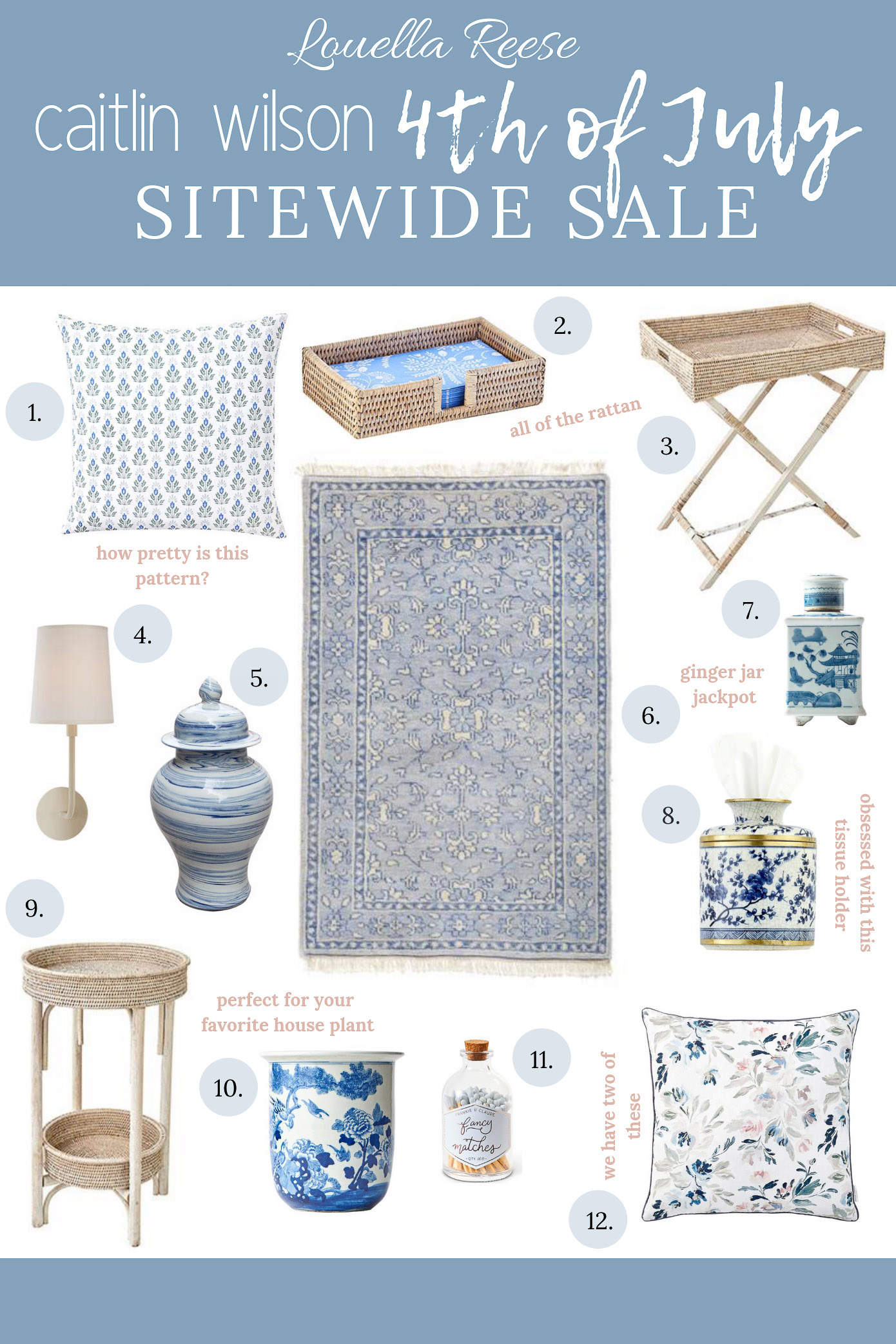 Fourth of July Home Sales to Shop | Caitlin Wilson Summer Sale | Blue and White Decor | Louella Reese