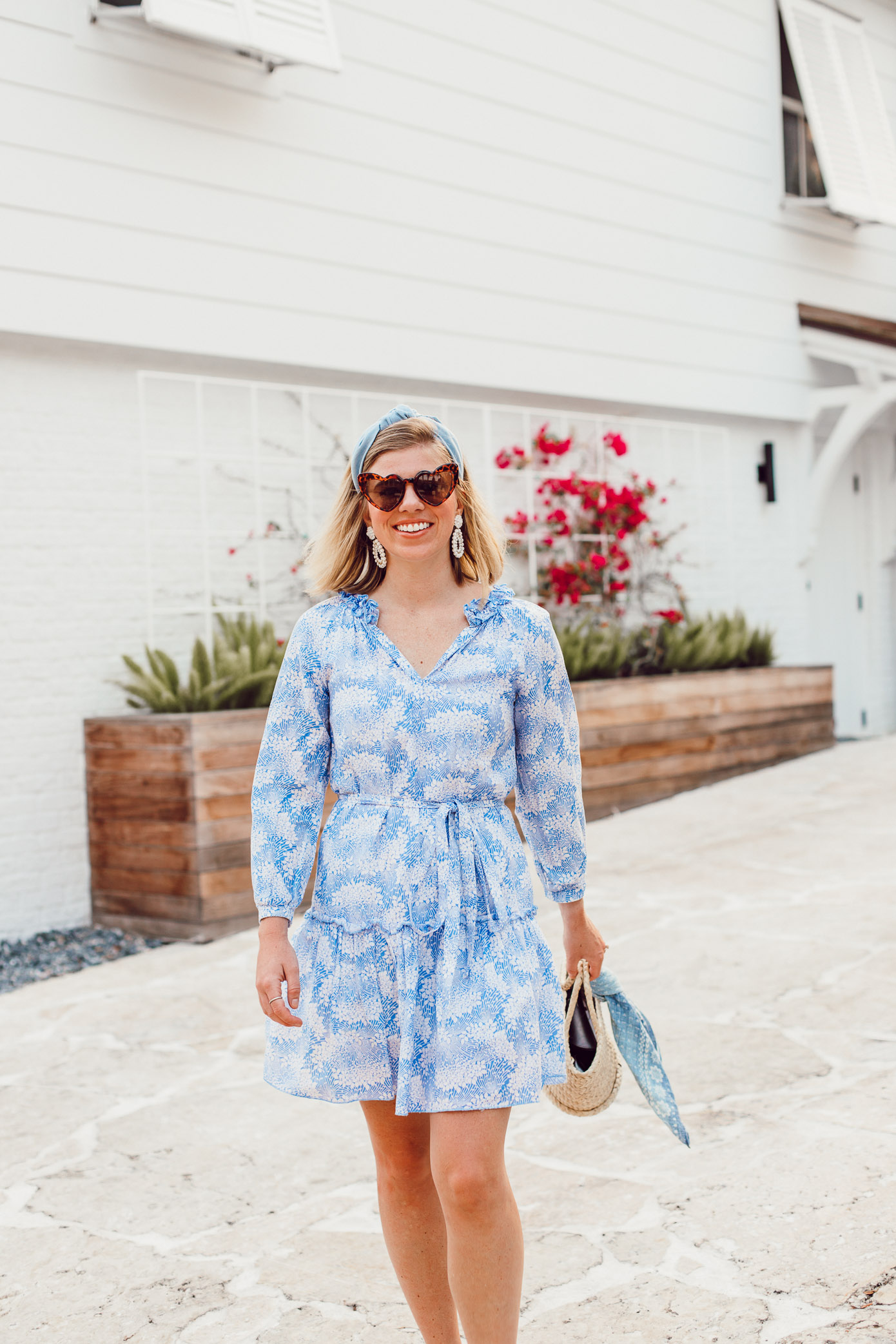 What to Wear in the South During Summer | Casual Blue and White Dress | Louella Reese
