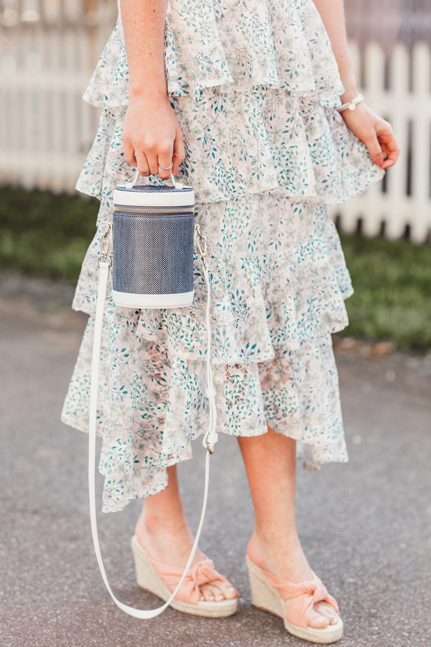 Floral Ruffle Midi Skirt, Rosé graphic tee | ft. Chicwish, Soludos, Paravel | Louella Reese #summerstyle #midiskirt #femininestyle #chicwish #soludos