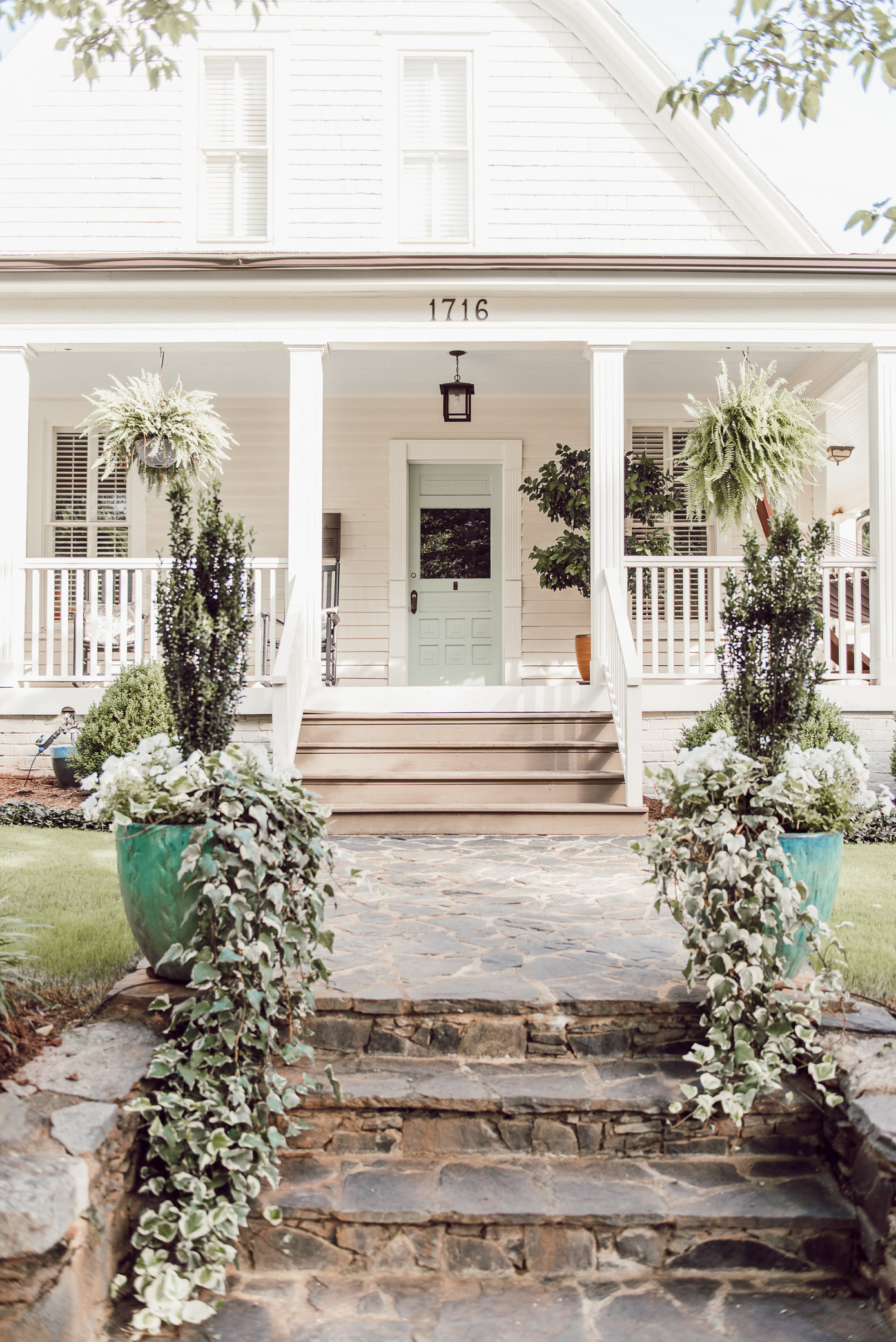 White Cottage with Blue Front Door | Charlotte NC Homes | Southern Cottage