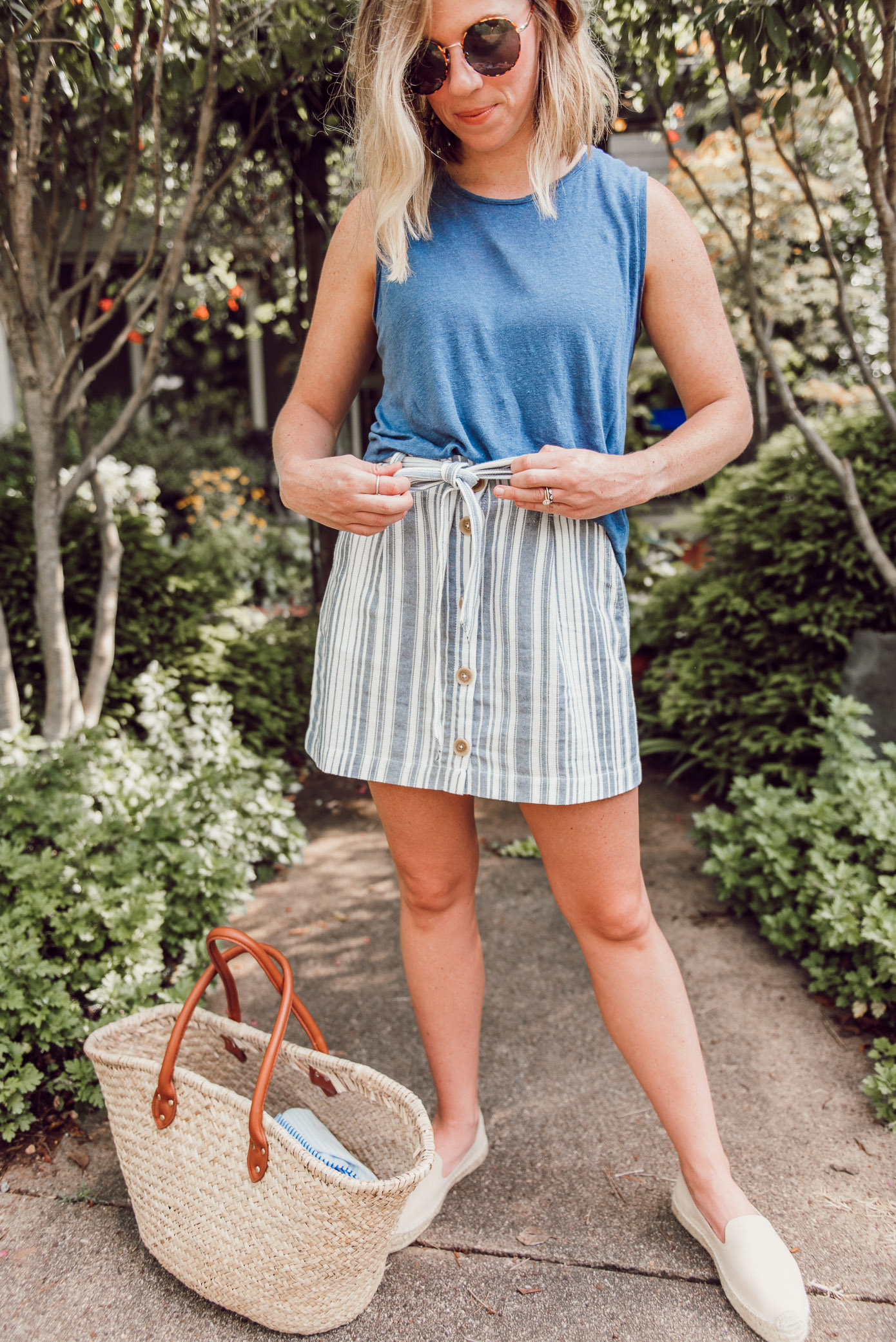 Linen Muscle Tank, Linen Striped Mini Skirt, Large Straw Tote, Neutral Espadrille Loafers | Louella Reese