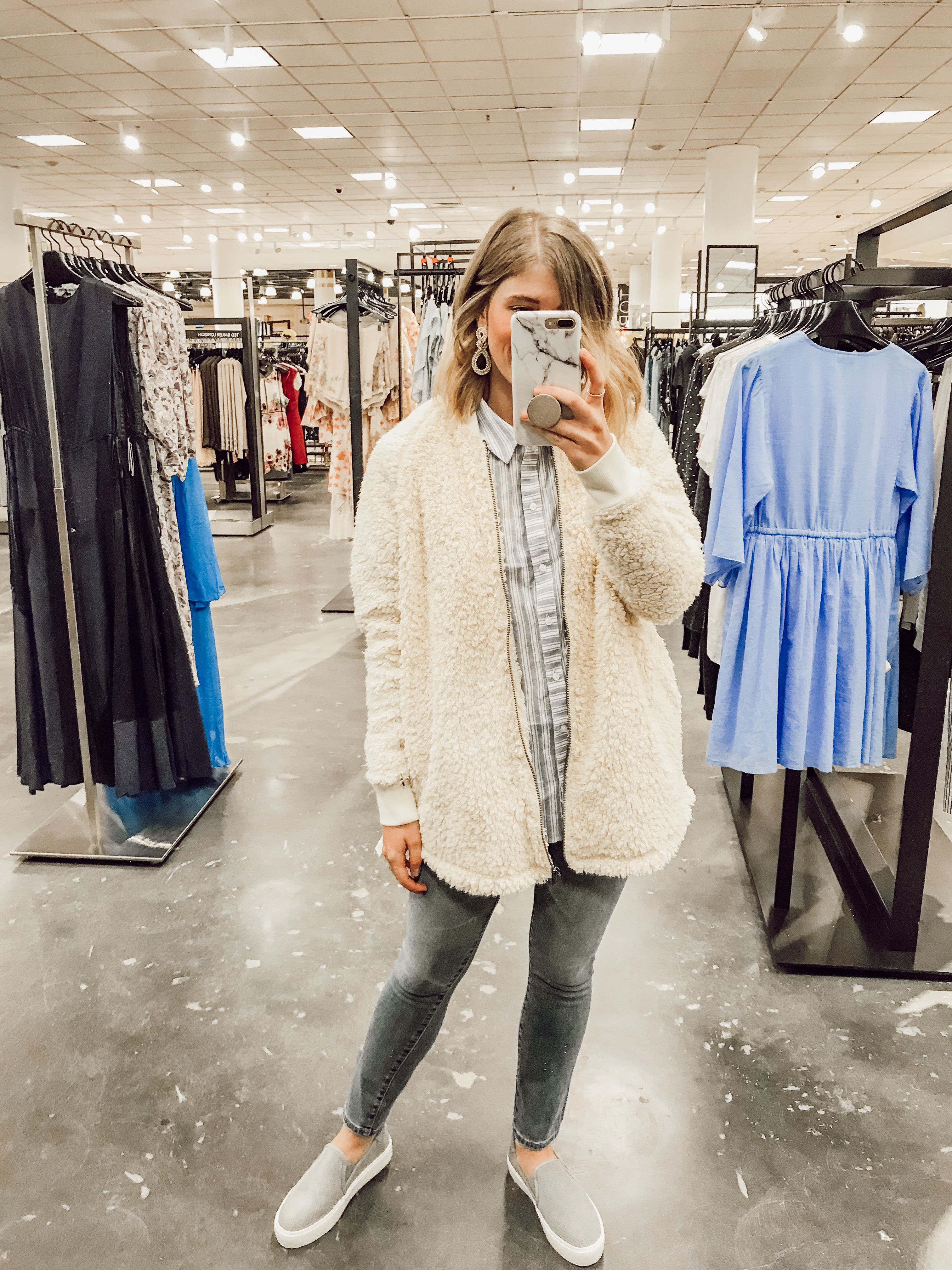 Caslon Long Faux Fur Jacket | 2019 Nordstrom Anniversary Fitting Room Session featured on Louella Reese Life & Style Blog