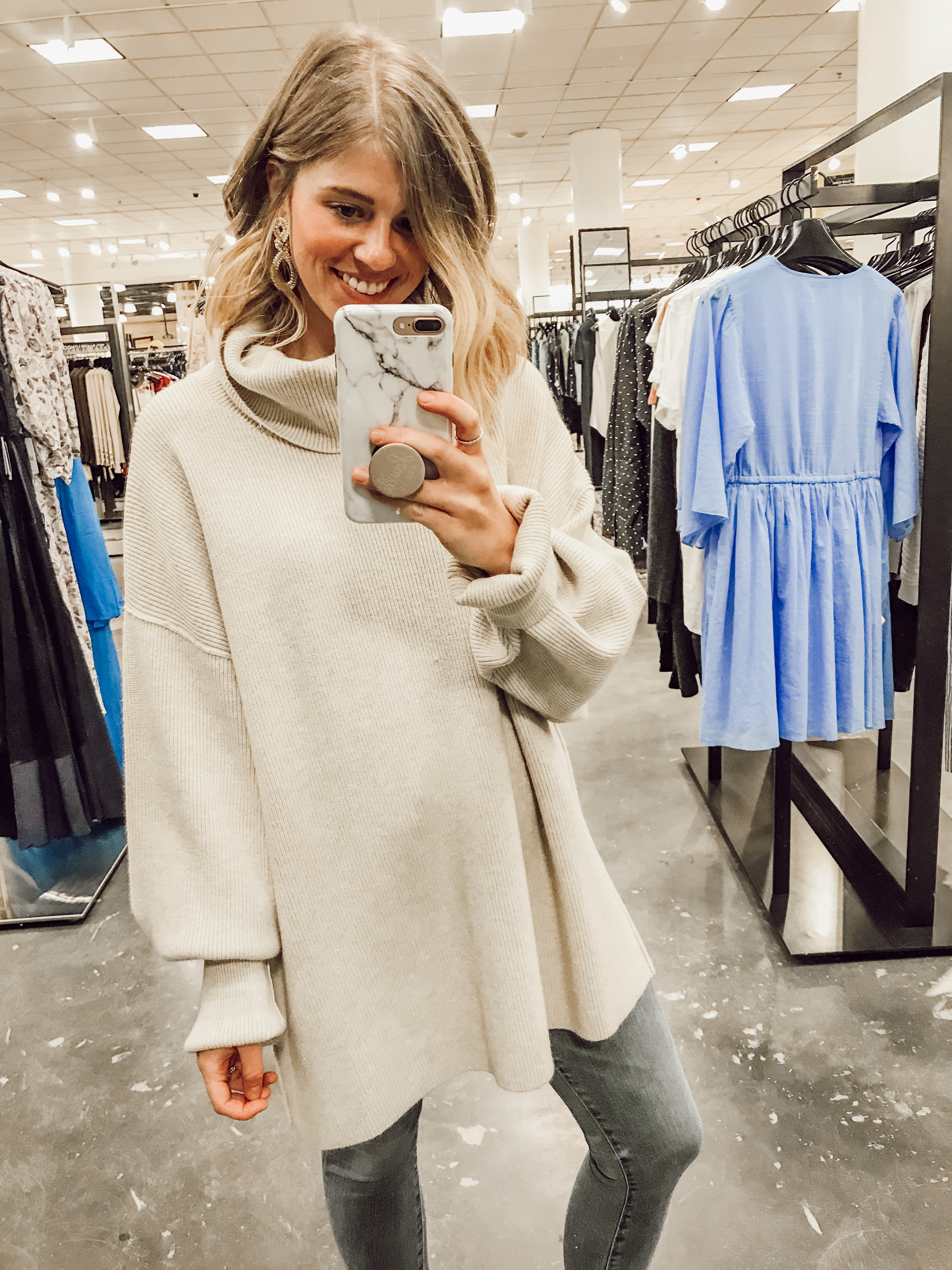 Free People Softly Structured Knit Tunic Sweater | 2019 Nordstrom Anniversary Fitting Room Session featured on Louella Reese Life & Style Blog