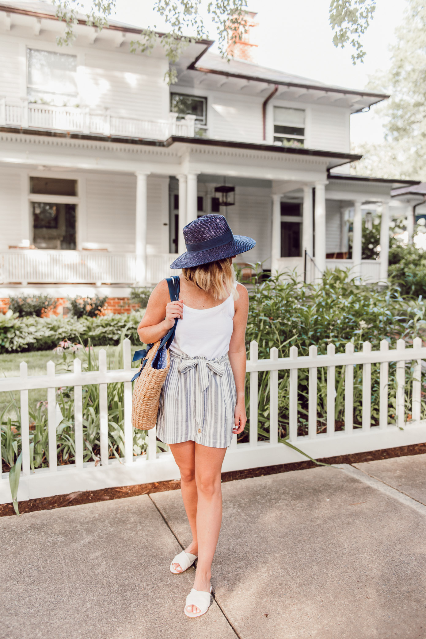 Casual Summer Outfit Idea | Cotton Cami, Linen Striped Skirt, Navy Straw Hat under $50 | Louella Reese