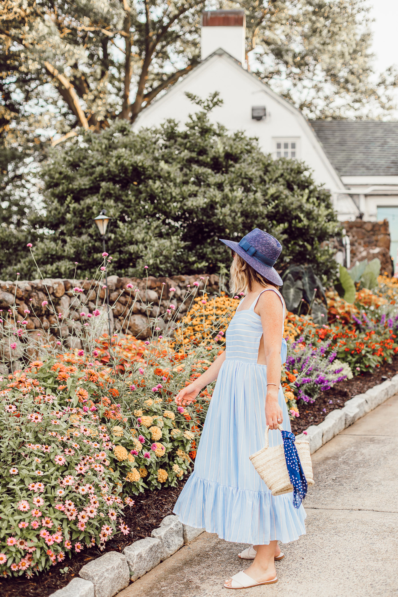 Winston-Salem Outfits - Everything I wore to explore Winston-Salem | Blue and White Striped Maxi Dress | Louella Reese
