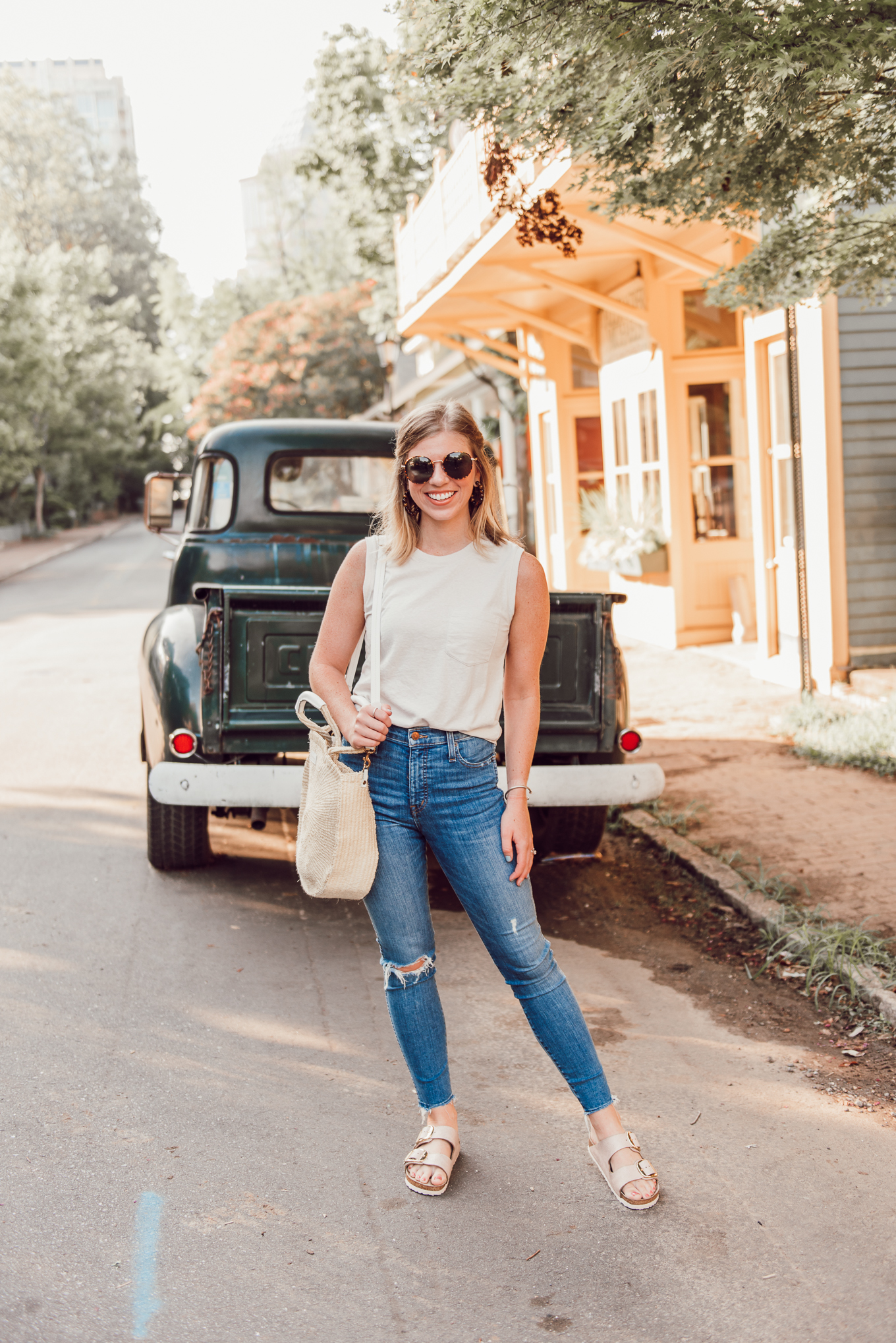 Casual End of Summer Outfit Idea | Neutral Tank, High-Rise Skinny Jeans, Rose Gold Birkenstocks | Louella Reese
