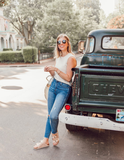 Affordable Summer to Fall Transition Essentials | Casual Outfit Idea | Neutral Tank, High-Rise Skinny Jeans, Rose Gold Birkenstocks | Louella Reese